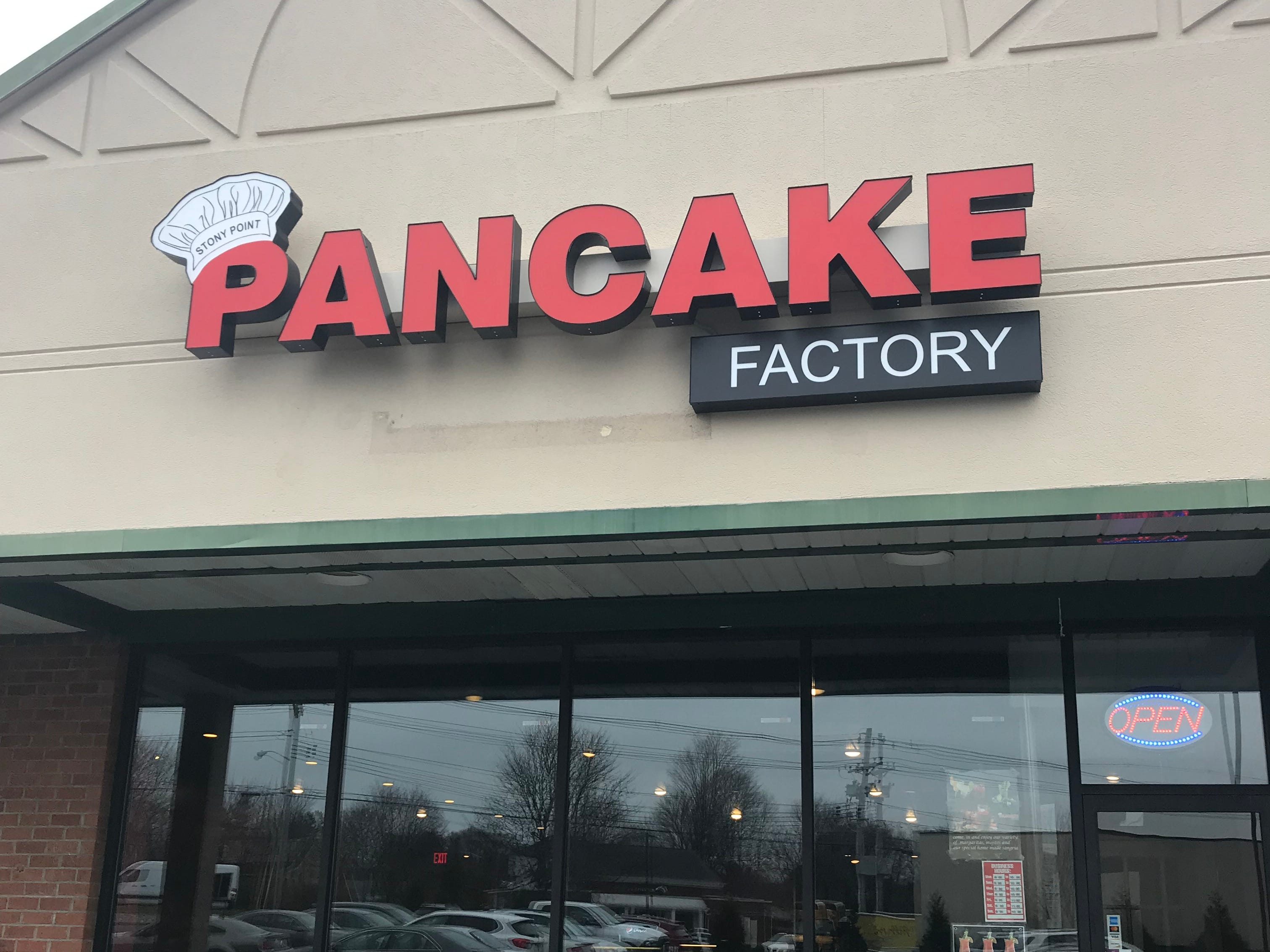 Stony Point Pancake Factory serves pancakes all day.
