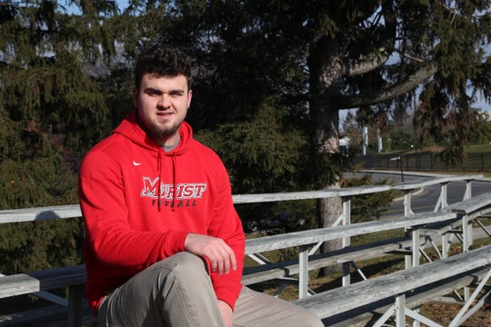 Former Ardsley standout Julian McGarvey talks about adjusting to college life while sitting outside the football stadium at Marist College in Poughkeepsie Dec. 8, 2018.
