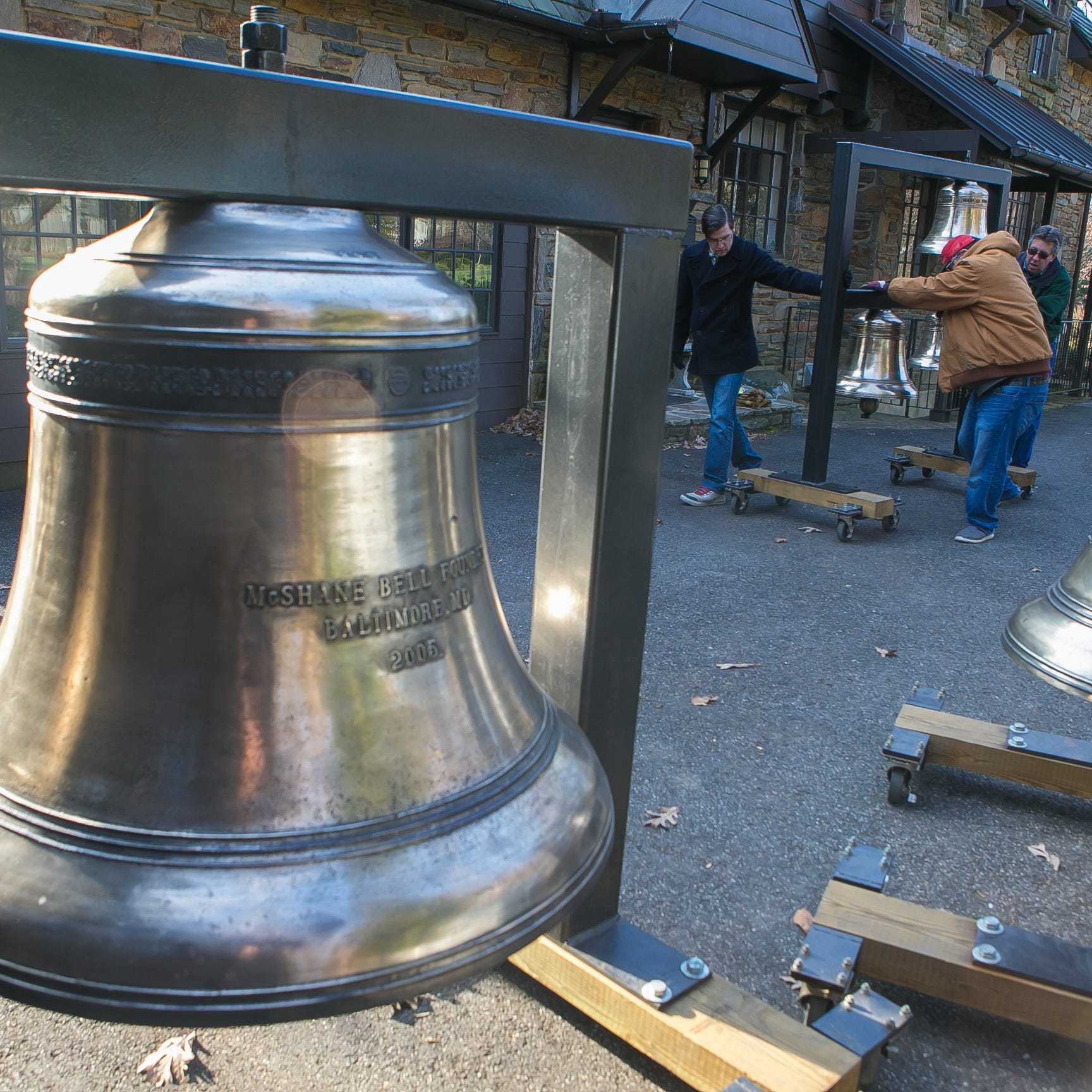 Conductor David Amado's unique way of ringing in holidays. He parked giant bells in garage