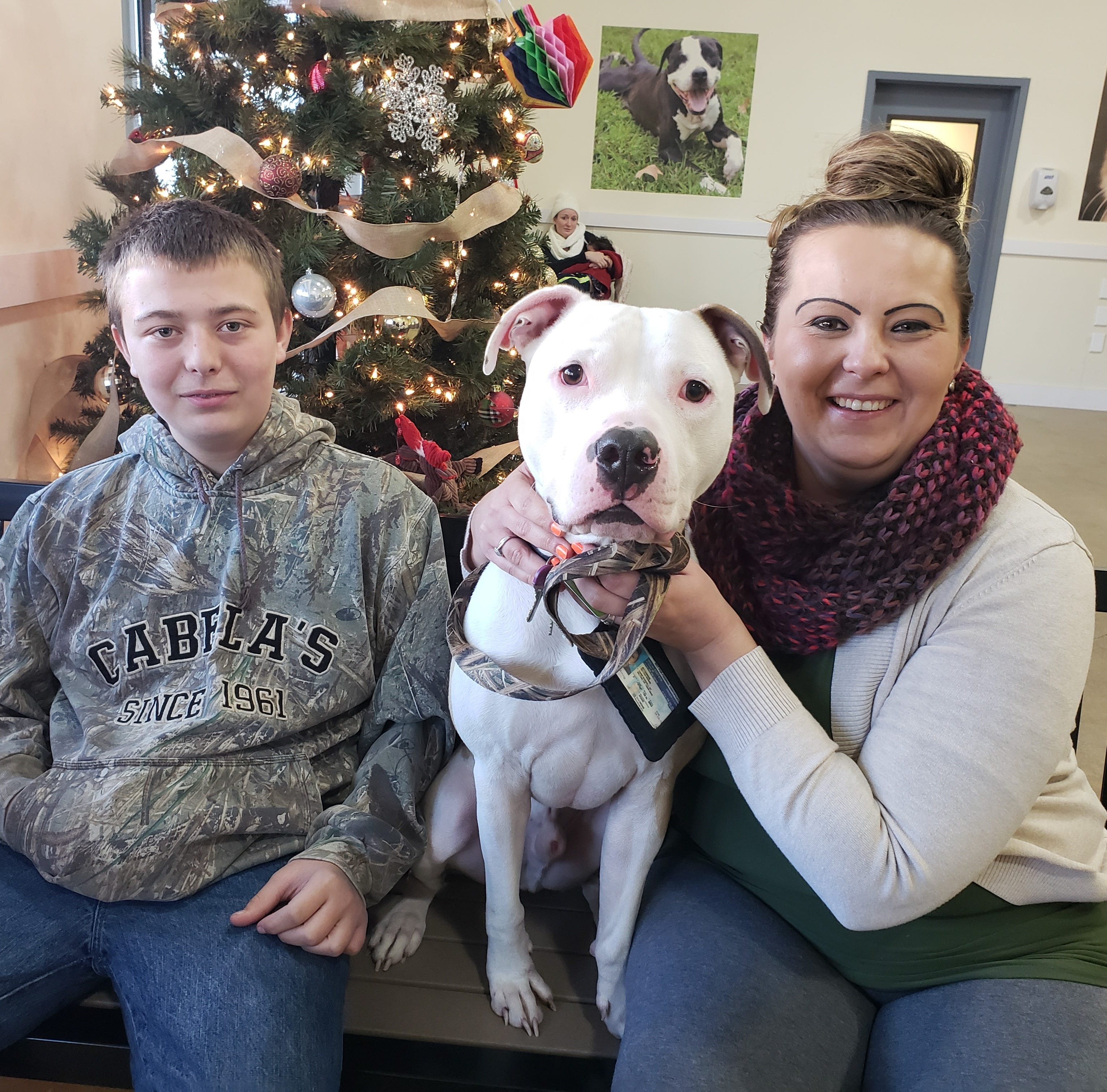 June Bug sits with his adopters Tuesday at the Brandywine Valley SPCA in New Castle.