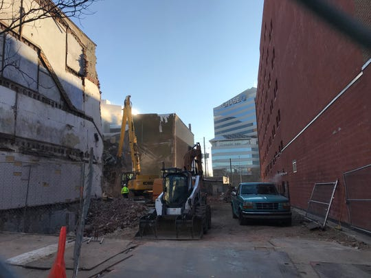 Demolition is underway on a group of historical buildings in the 200 block of Market and King streets in downtown Wilmington.