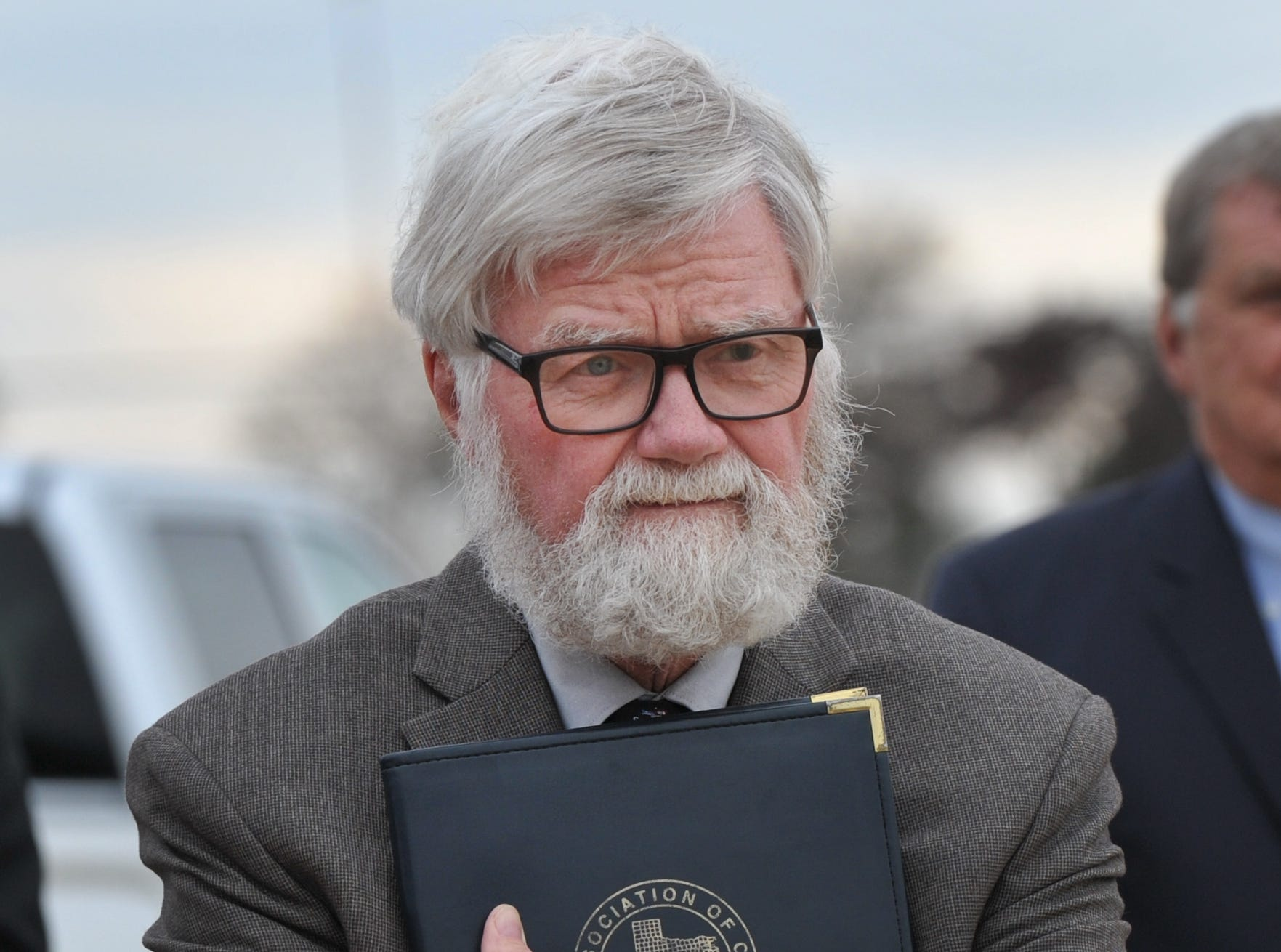 Wichita County Judge, Woody Gossom listened as county dignitaries spoke during a groundbreaking ceremony held for the law enforcement Tuesday afternoon.