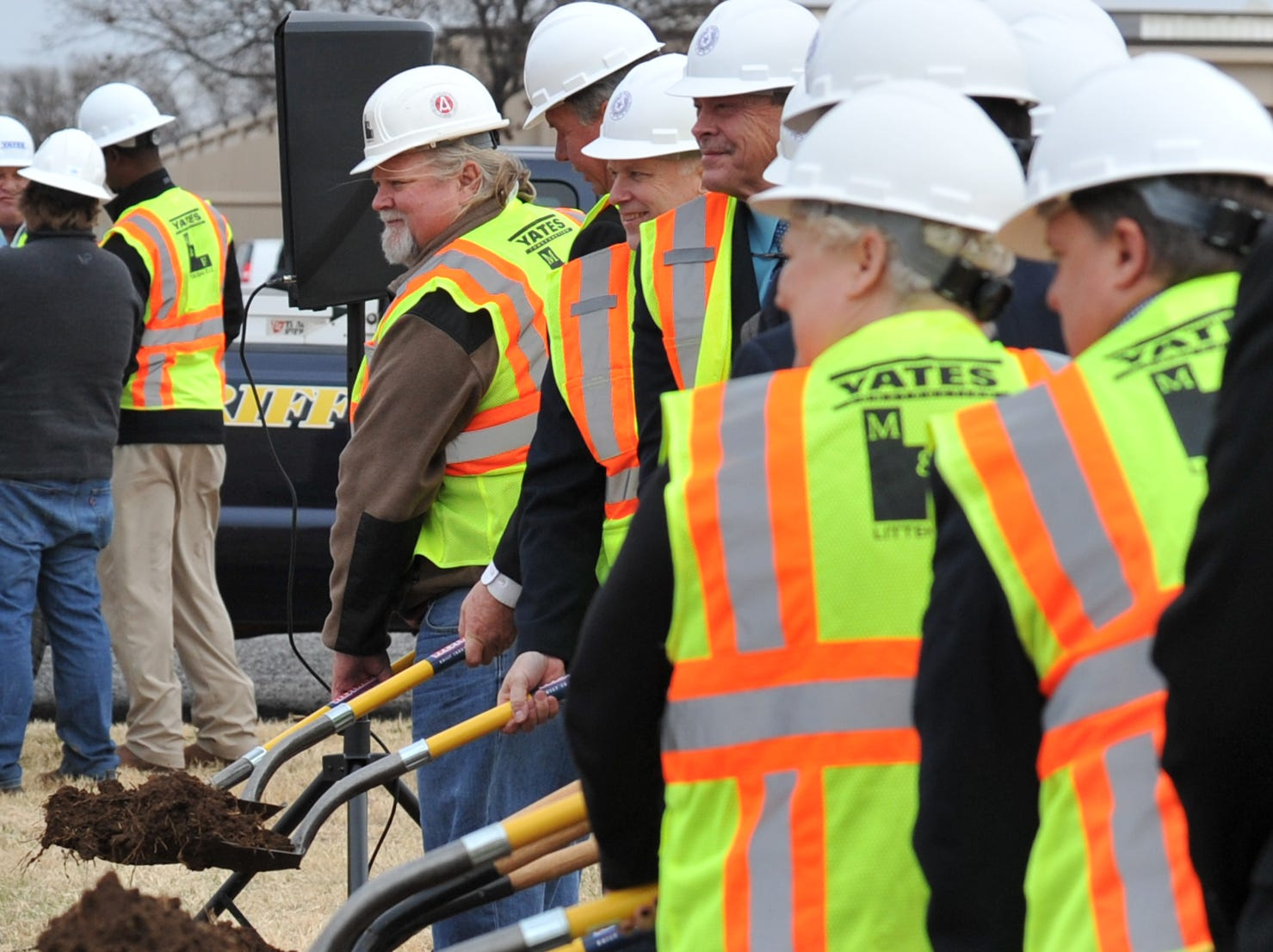 County dignitaries helped break ground Tuesday afternoon to help celebrate the building of the new law enforcement center that will be constructed next to the Sprague Annex.