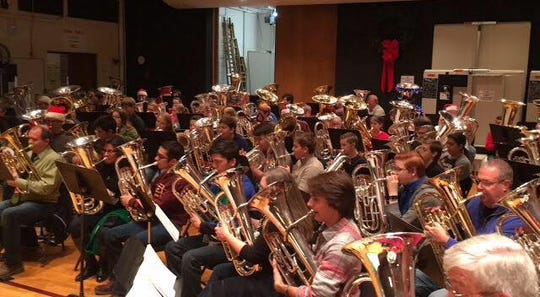 Musicians will rehearse from 2 to 3:30 p.m.or so for the TubaChristmas performance at 4 p.m. Saturday on the Hardin lawn at the Burns-MSU Fantasy of Lights. Tuba and euphonium players are invited to register at 1 p.m. at Akin Auditorium.