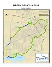 "A city of Wichita Falls map shows exisiting sections of the Circle Trail (in green)  and the proposed sections of trail (in blue). The city hopes to finish the ""circle"" in the next few years."