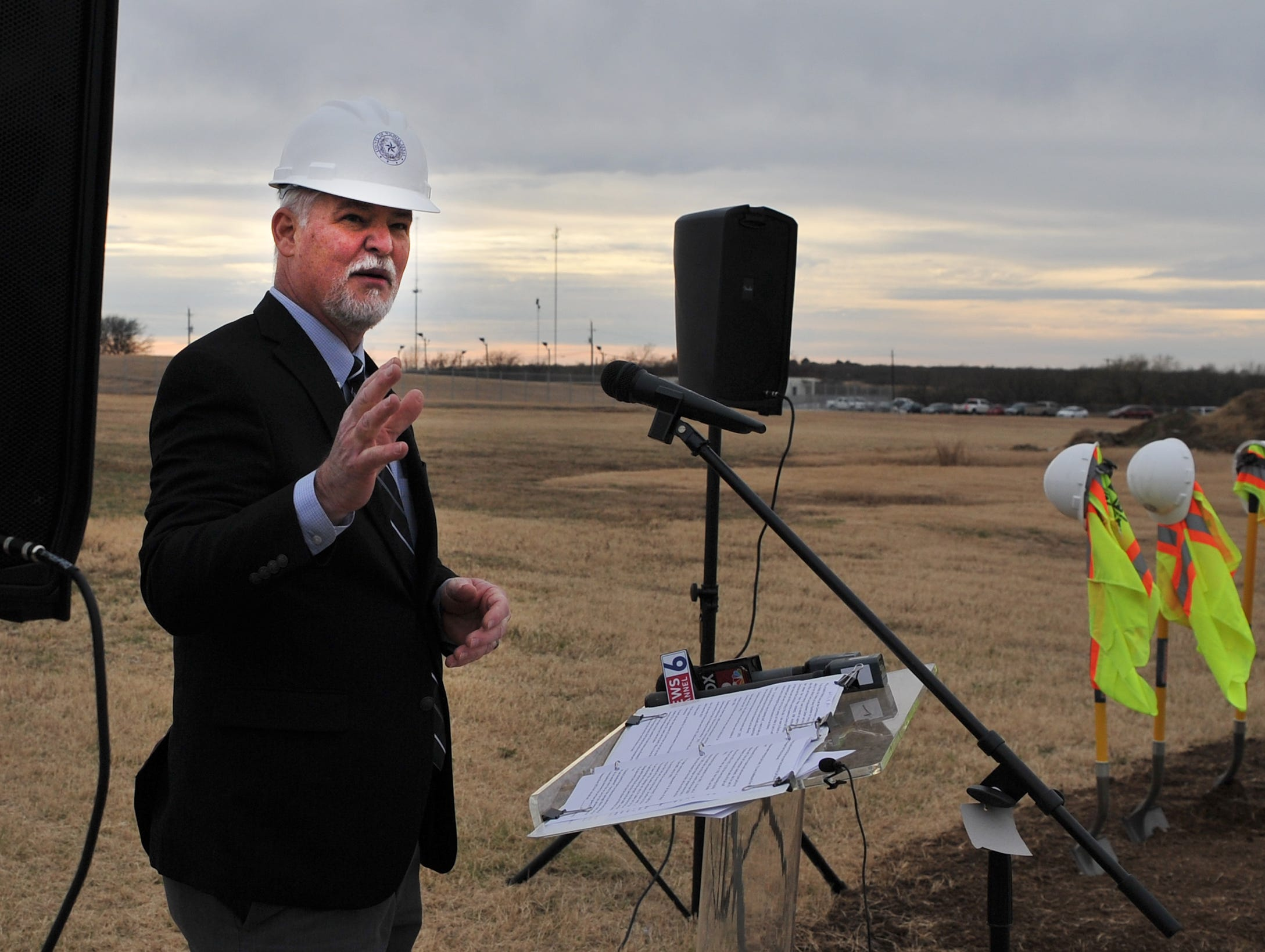 Wichita County Precinct 1 Commissioner, Mark Beachamp spoke during a groundbreaking ceremony for the law enforcement Tuesday afternoon.