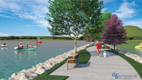 This artistic rendering by Gary Baker and Associates LLC, shows a concept of an overwater section of the Wichita Falls Circle Trail that extends over Lake Wichita. This unique addition for walking, biking and fishing is under consideration between the city and Lake Wichita Revitalization Committee. The overwater version of the trail section would be twice the cost of a shoreline trail  - $4 million versus $2 million.