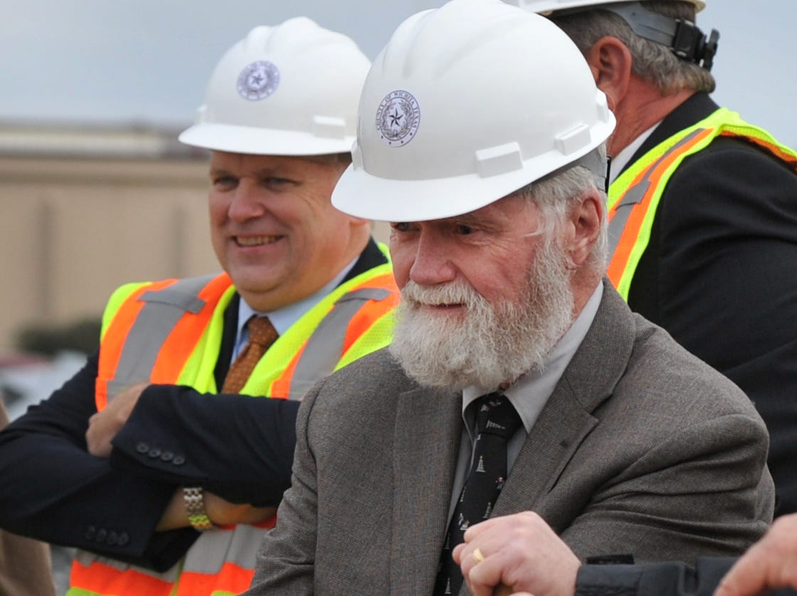Wichita County Judge, Woody Gossom prepares to break ground during a ceremony held for the construction of the new law enforcement center, Tuesday afternoon.