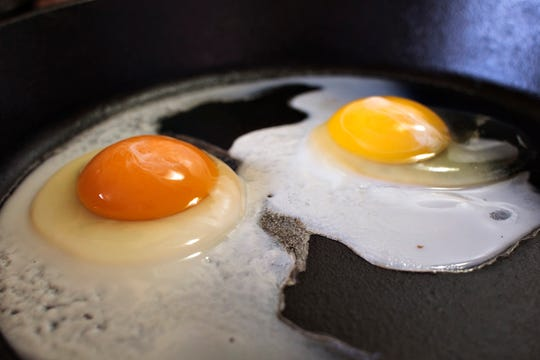 This undated photo shows the darker orange yolk of a homegrown chicken egg (left) compared with the lighter yolk of a store-bought egg in Gillette, Wyo. Yolk color is primarily determined by the carotenoids--naturally occurring pigments in plants--that hens eat, according to Elizabeth Bobeck, a poultry nutrition professor at Iowa State University.