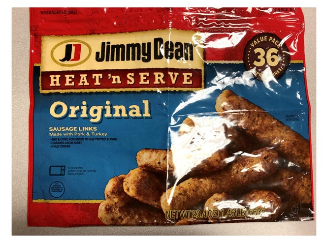 CTI Foods is recalling about 29,028 pounds of Jimmy Dean Heat 'n Serve Original Sausage Links Made with Pork & Turkey because the frozen, ready-to-eat sausage links ay be contaminated with extraneous materials, specifically pieces of metal, according to the U.S. Department of Agriculture.