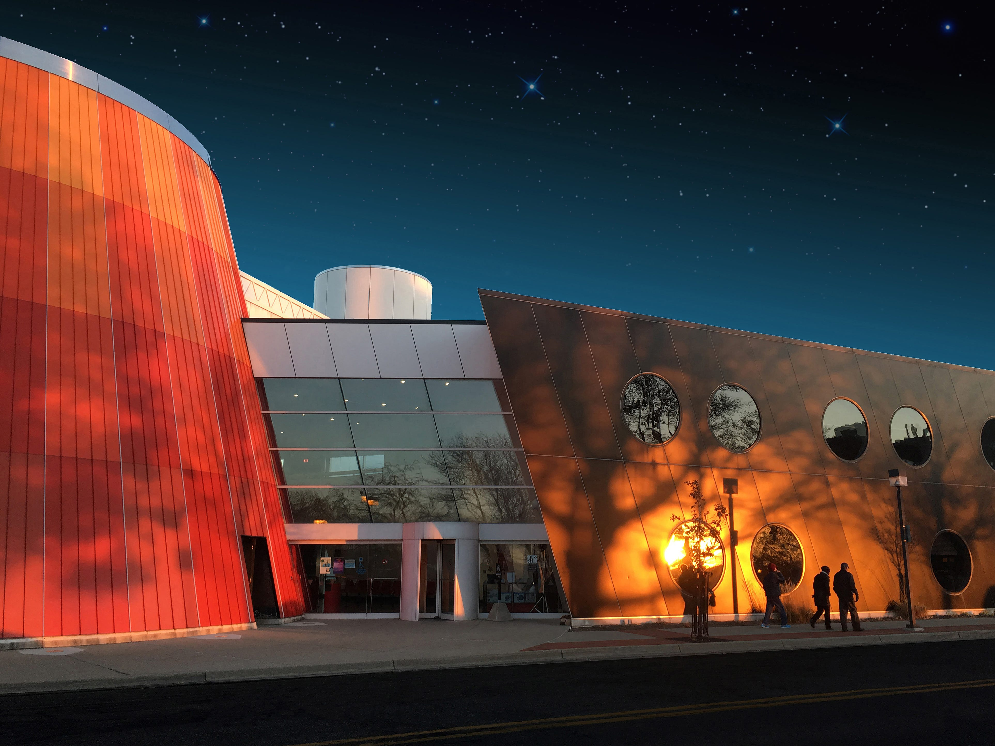 Delta College Planetarium and Learning Center, Bay City (Architect: William Kessler & Associates): In 1993, Delta College secured a NASA grant totaling $8.75 million to fund the design and construction of a facility that would foster an appreciation of the significance, relevance and application of the sciences. The building is certainly one of the most unique and significant buildings in downtown Bay City. The structure, rhythm and colors are very deliberate as the overall design is to represent the future, astronomy and space exploration. The building design won two very significant awards from the American Institute of Architects.