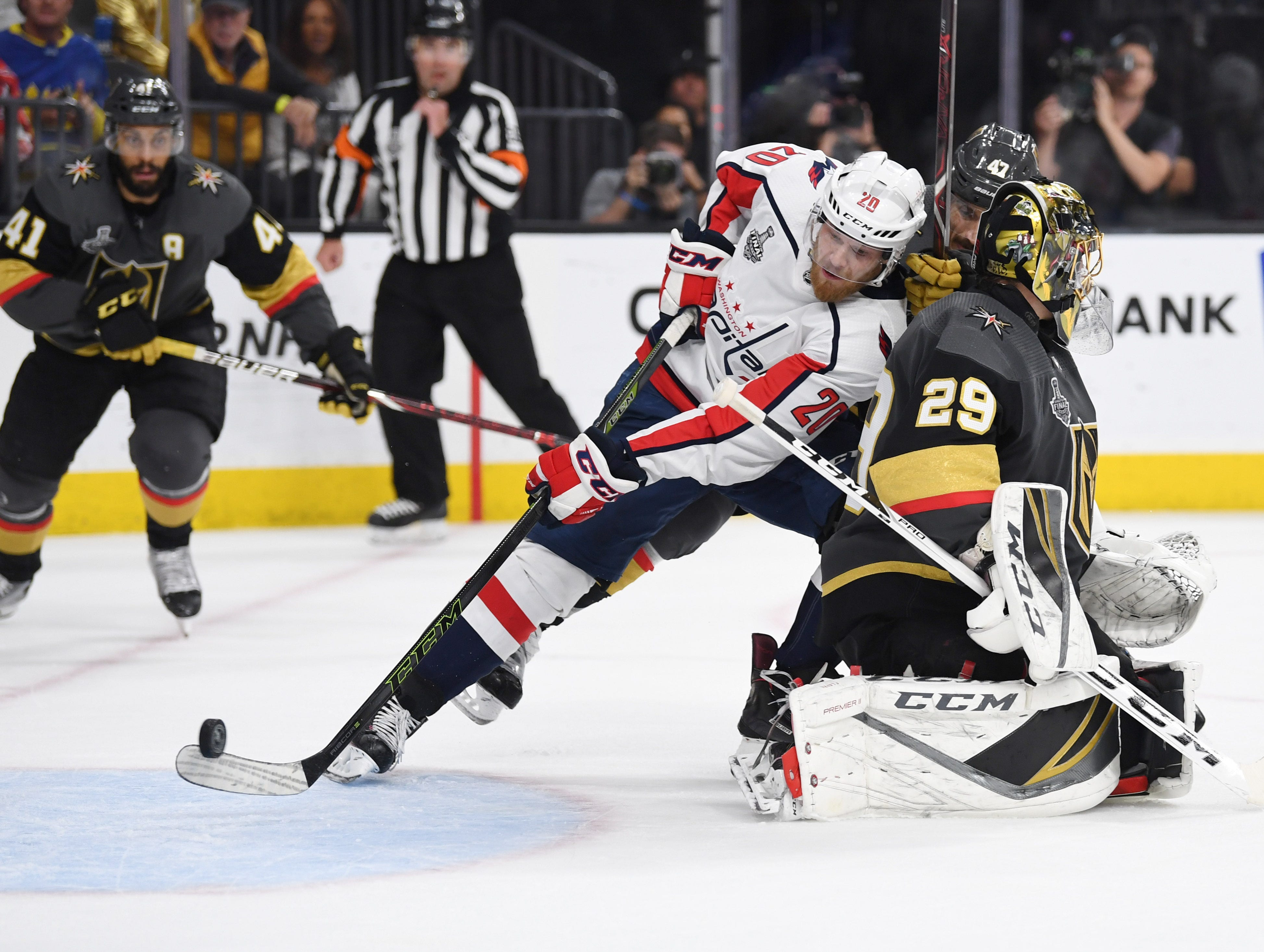 June 7: Washington Capitals center Lars Eller (20) scores the game-winning goal against the Vegas Golden Knights in the third period of Game 5 of the Stanley Cup Final. The Capitals would hang to win their first championship.