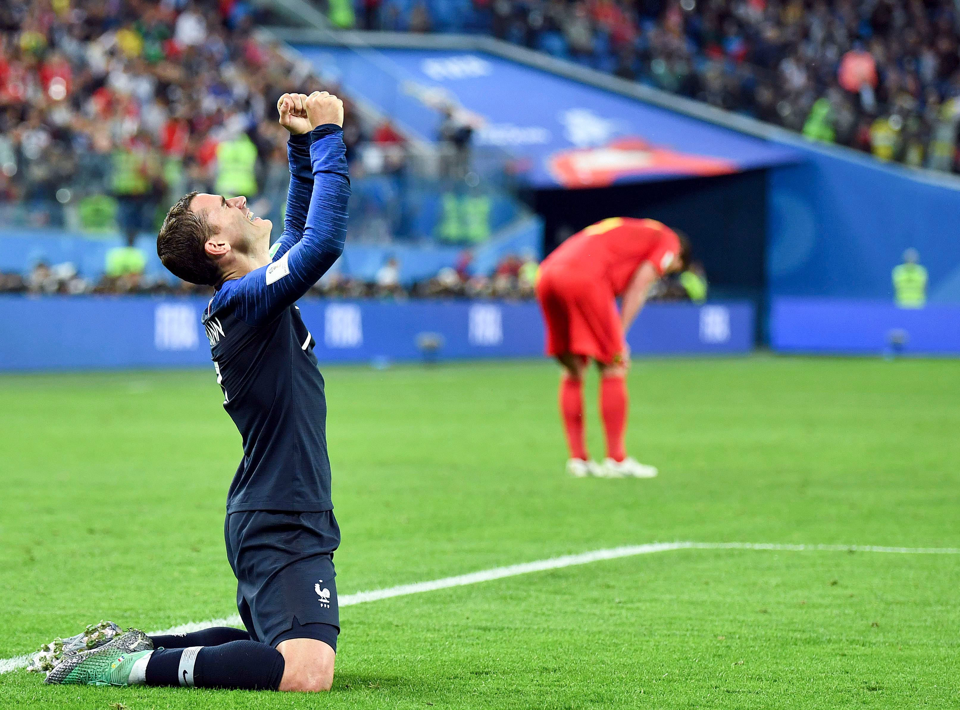 July 10: France forward Antoine Griezmann (7) celebrates after the World Cup semifinal win over Belgium at Saint Petersburg Stadium.