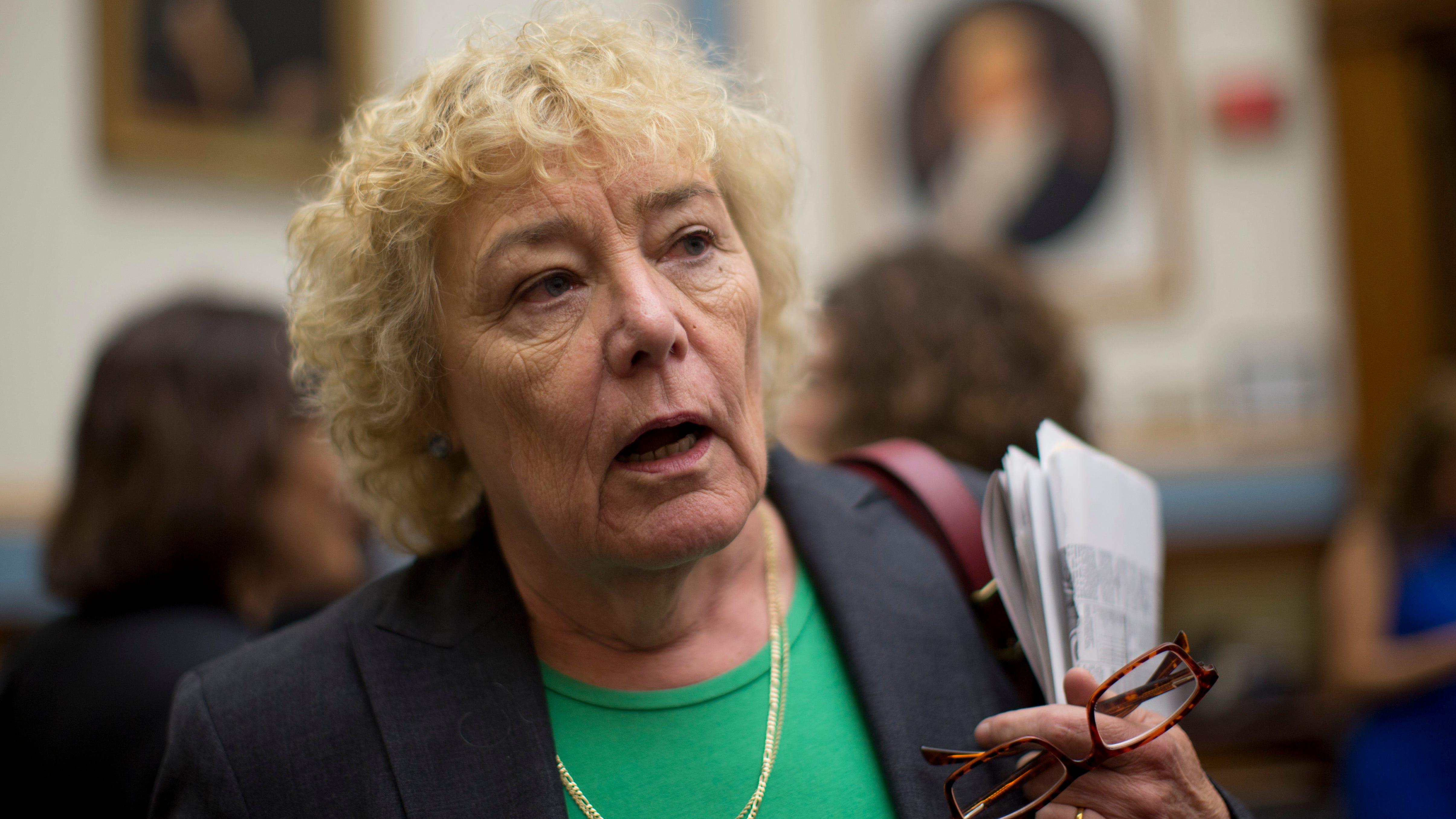 Rep. Zoe Lofgren, D-Calif., talks to media on Capitol Hill in Washington, June 18, 2013.