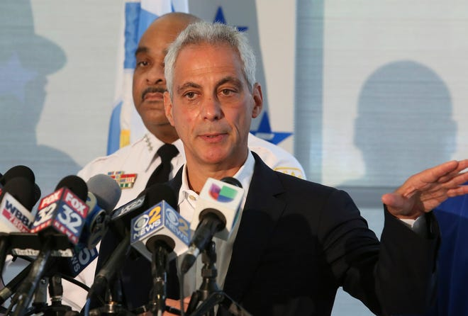Chicago Mayor Rahm Emanuel speaks at a news conference accompanied by Police Superintendent Eddie Johnson, Monday, Aug. 6, 2018, in Chicago.
