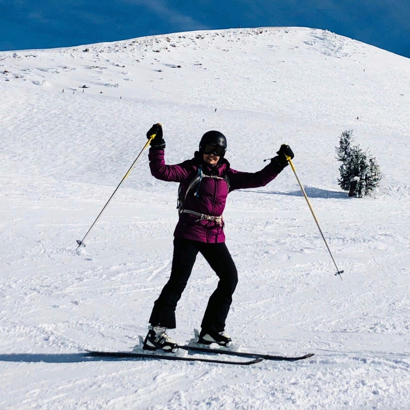A skier poses for a photo at Mammoth Mountain ski resort in Mammoth Lakes, California, on Dec. 7, 2018. Back-to-back storms have blanketed the Sierra Nevada in snow, pushing the snowpack to 106 percent above average.