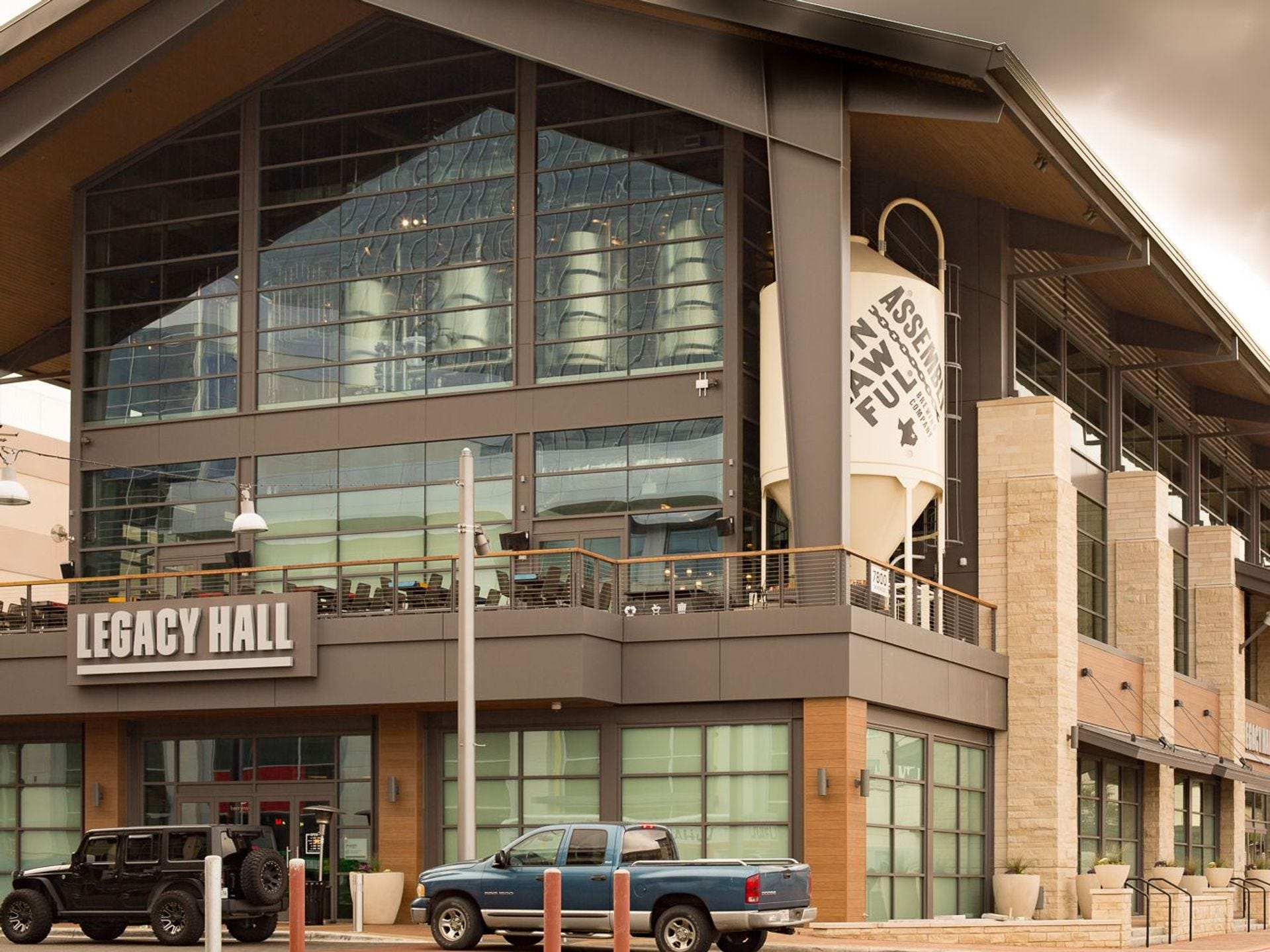 Legacy Hall is major food hall that opened in Dallas a year ago, complete with the first location of Knife burger - and a full working brewery.