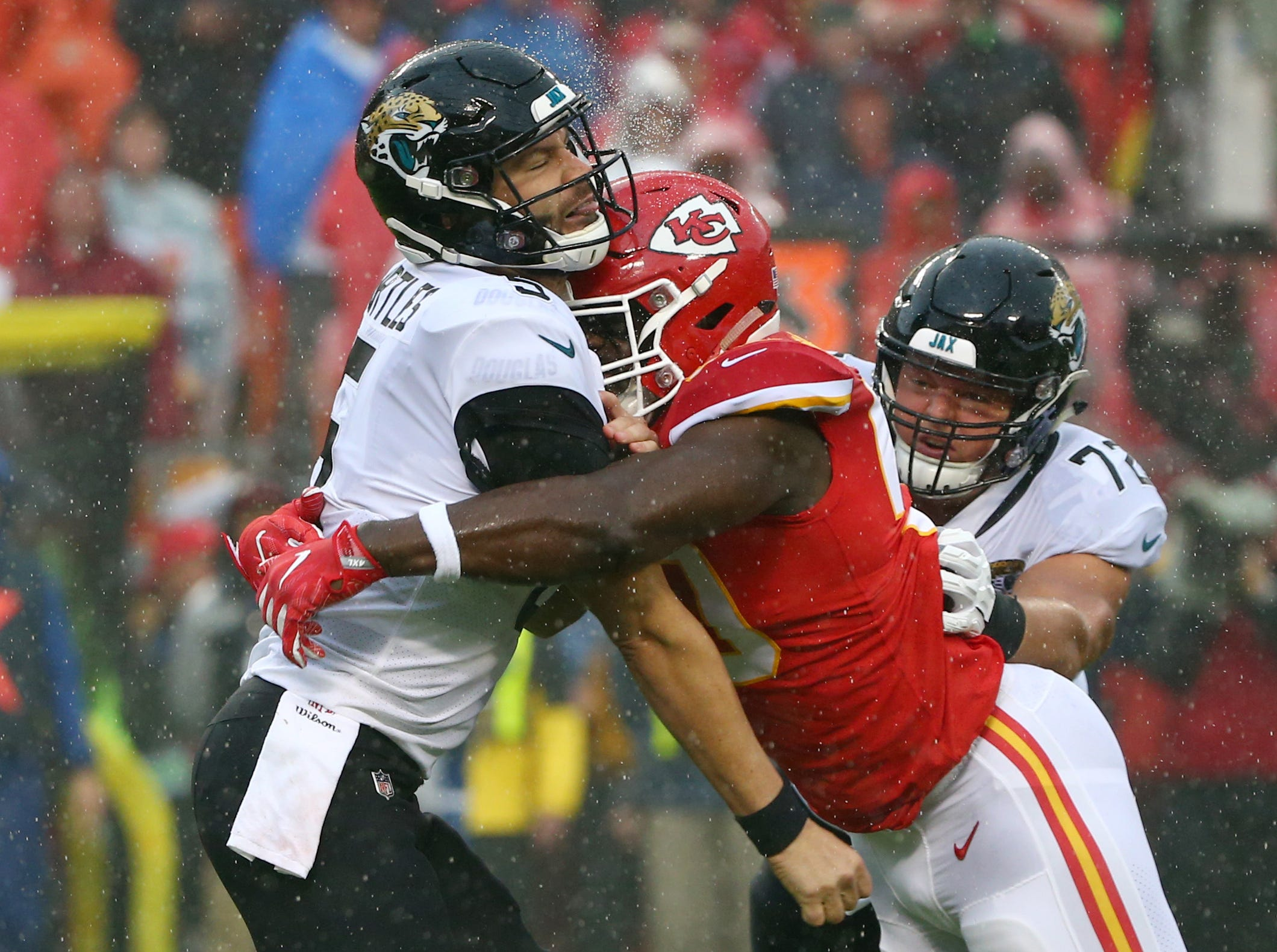 Oct. 7: Jacksonville Jaguars quarterback Blake Bortles (5) is hit by Kansas City Chiefs linebacker Justin Houston (50) after throwing the ball in the first half at Arrowhead Stadium.