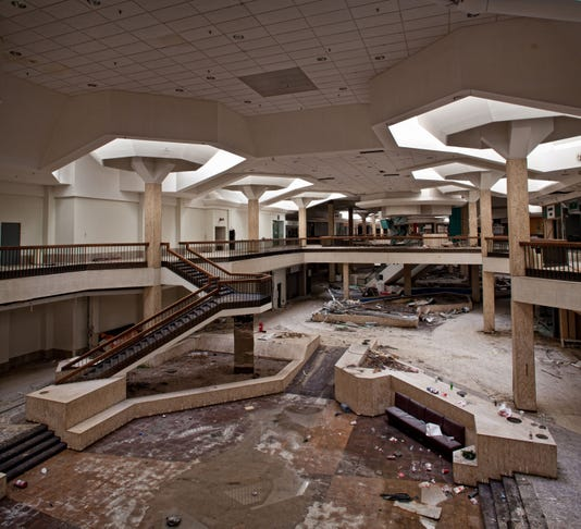 """Built just off the interstate with over 200 stores and 9,000 parking spaces, its motto was """"Much More Than Everything"""", and initially it seemed like a promise they could deliver. (Photo: Matthew Christopher, Abandoned America)"""