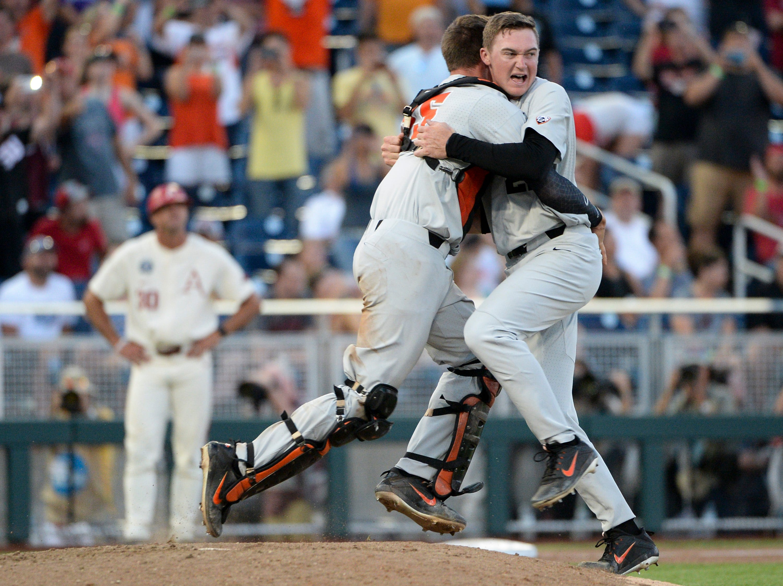 June 28: Oregon State Beavers pitcher Kevin Abel (right) celebrates with catcher Adley Rutschman after beating the Arkansas Razorbacks in Game 3 of the College World Series to win the national championship.