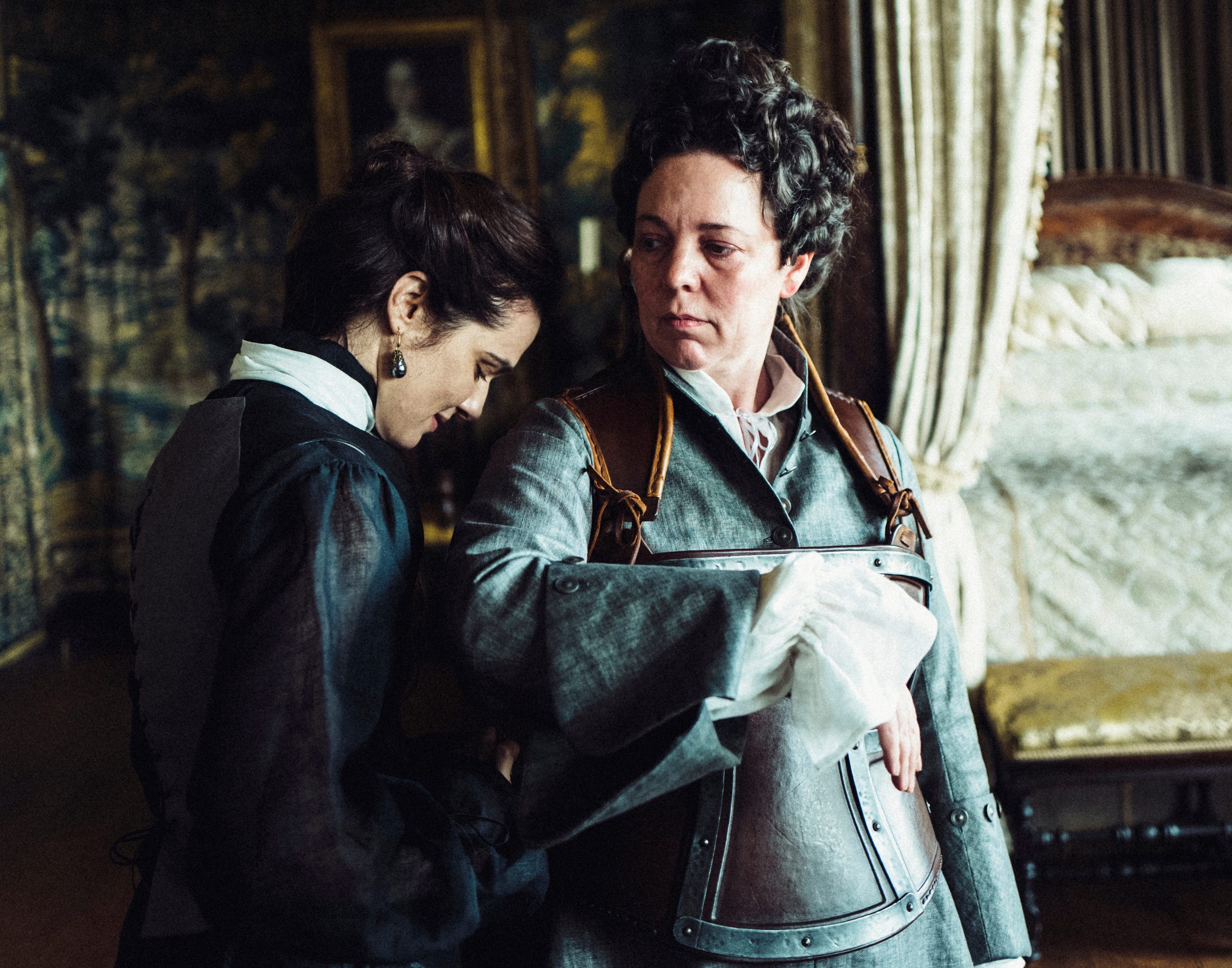 """Ahem, these two should be """"The Favourite"""" in supporting actress (Rachel Weisz, left) and actress (Olivia Colman)."""