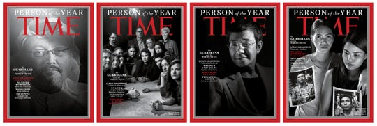 """This image obtained December 11, 2018 courtesy of Time magazine shows the covers for Time magazine """"Person of the Year"""" December 24/December 31 2018. - Saudi journalist Jamal Khashoggi, who was murdered in October at his country's Istanbul consulate, was on December 11, 2018 named Time magazine's """"Person of the Year"""" alongside several other journalists. The magazine also honored Philippine journalist Maria Ressa, Reuters reporters Wa Lone and Kyaw Soe Oo -- currently imprisoned in Myanmar -- and the staff of the Capital Gazette in Annapolis, Maryland, including five members killed in a June shooting. (Photo by Moises SAMAN / TIME Inc. / AFP) / RESTRICTED TO EDITORIAL USE - MANDATORY CREDIT """"AFP PHOTO / TIME MAGAZINE/MOISES SAMAN/HANDOUT"""" - NO MARKETING NO ADVERTISING CAMPAIGNS - DISTRIBUTED AS A SERVICE TO CLIENTSMOISES SAMAN/AFP/Getty Images ORG XMIT: Time maga ORIG FILE ID: AFP_1BI55L"""