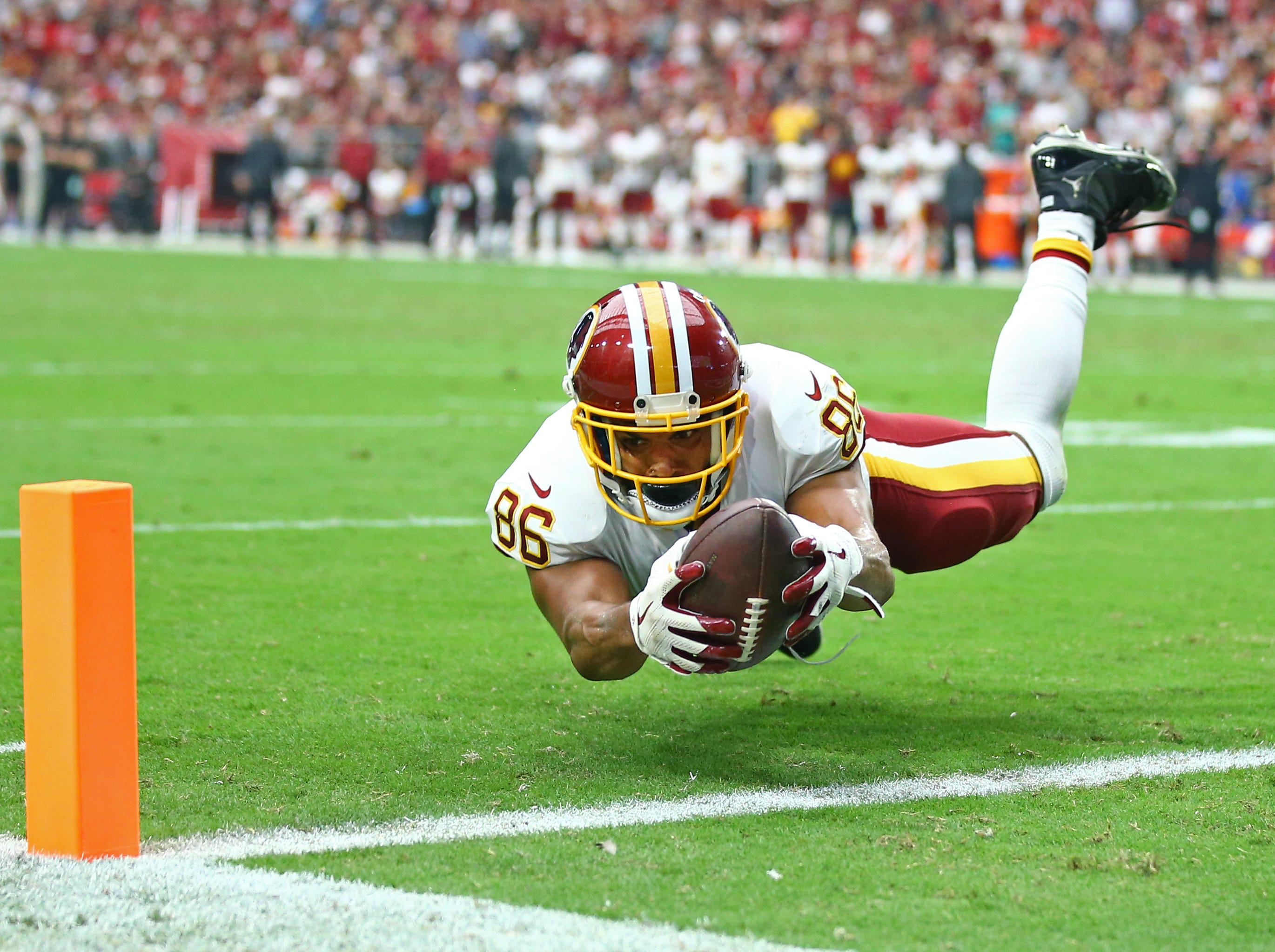 Sept. 9: Washington Redskins tight end Jordan Reed (86) catches a pass and dives across the goal line for a touchdown against the Arizona Cardinals in the second quarter at University of Phoenix Stadium.