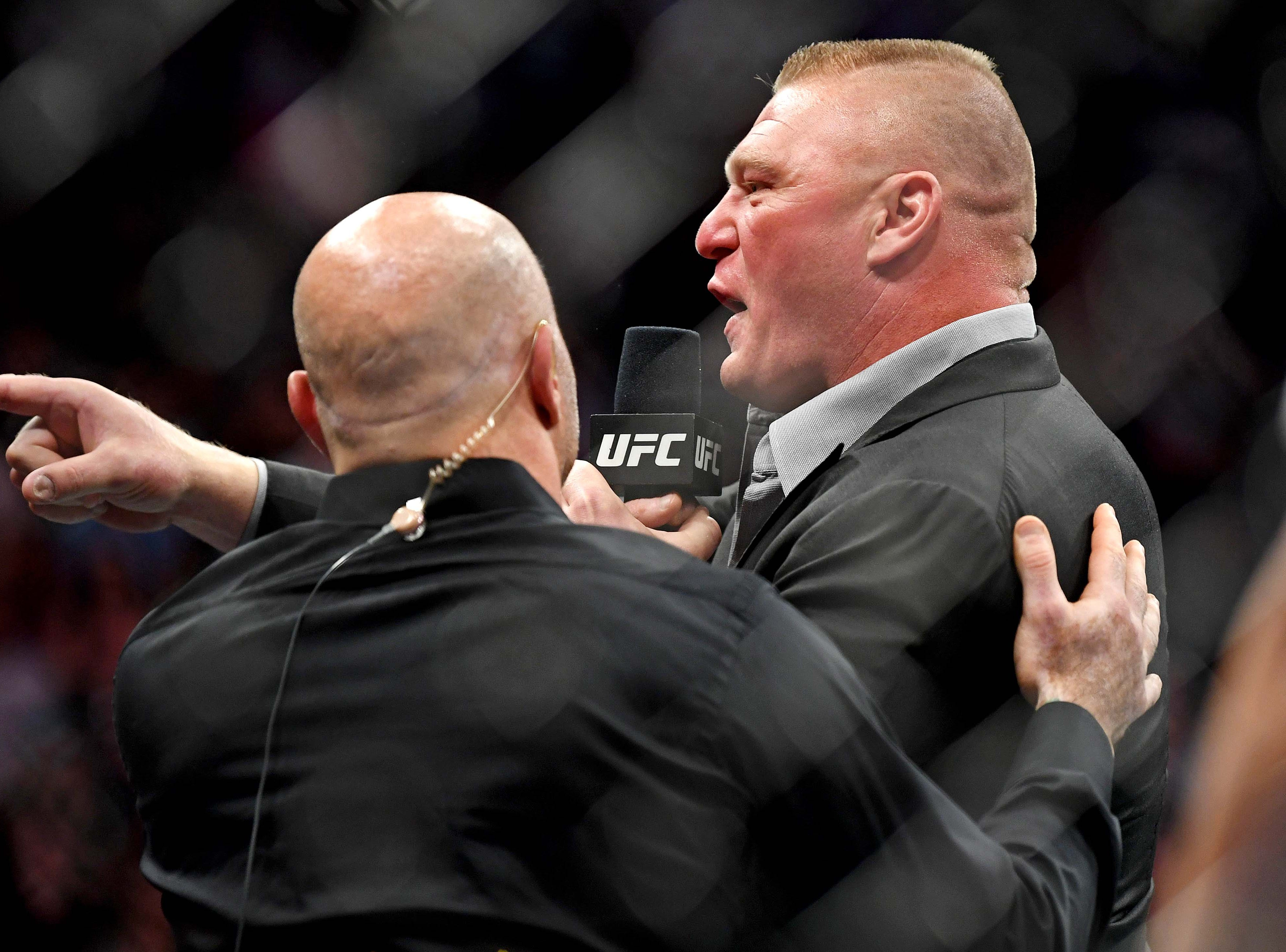 July 7: Brock Lesnar enters the octagon after Daniel Cormier beat Stipe Miocic during UFC 226 at T-Mobile Arena.