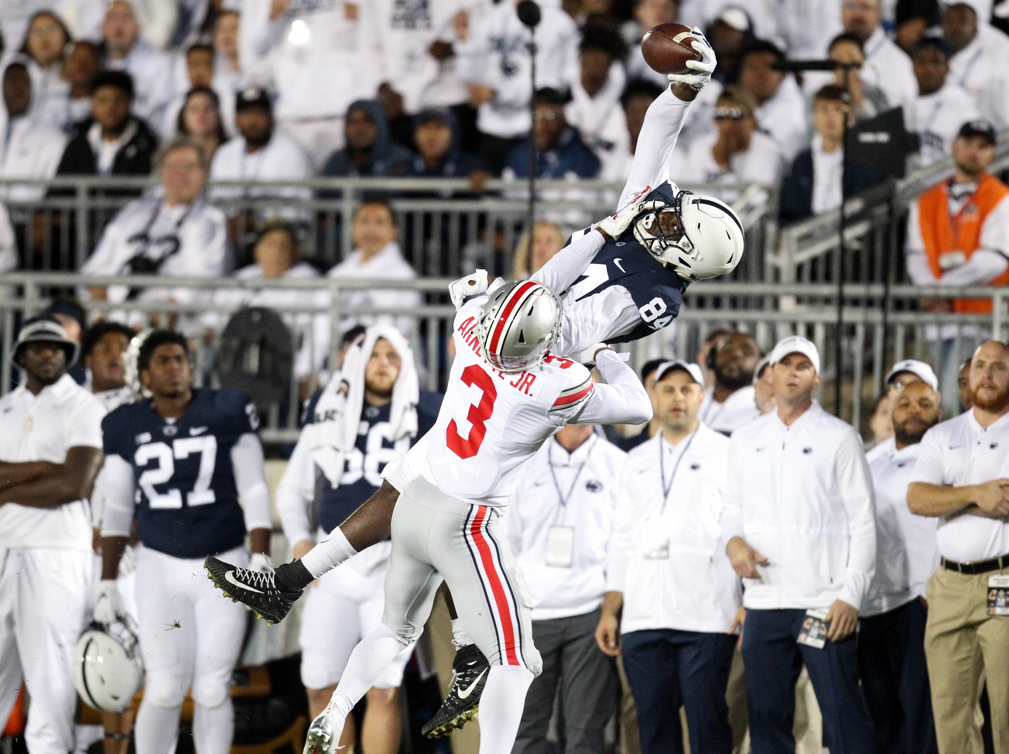 Sept. 29: Penn State Nittany Lions wide receiver Juwan Johnson makes a catch during the first quarter against the Ohio State Buckeyes at Beaver Stadium.