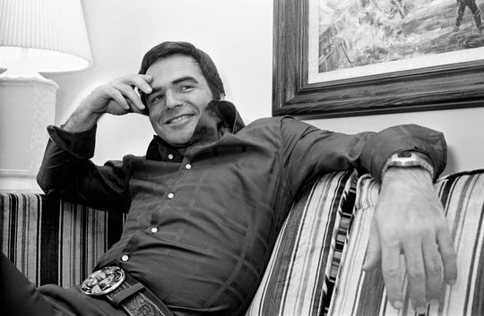 Feb. 3, 1975 photo of Burt Reynolds as he talks about many topics during an interview in his suite at the Spence Manor in Nashville.