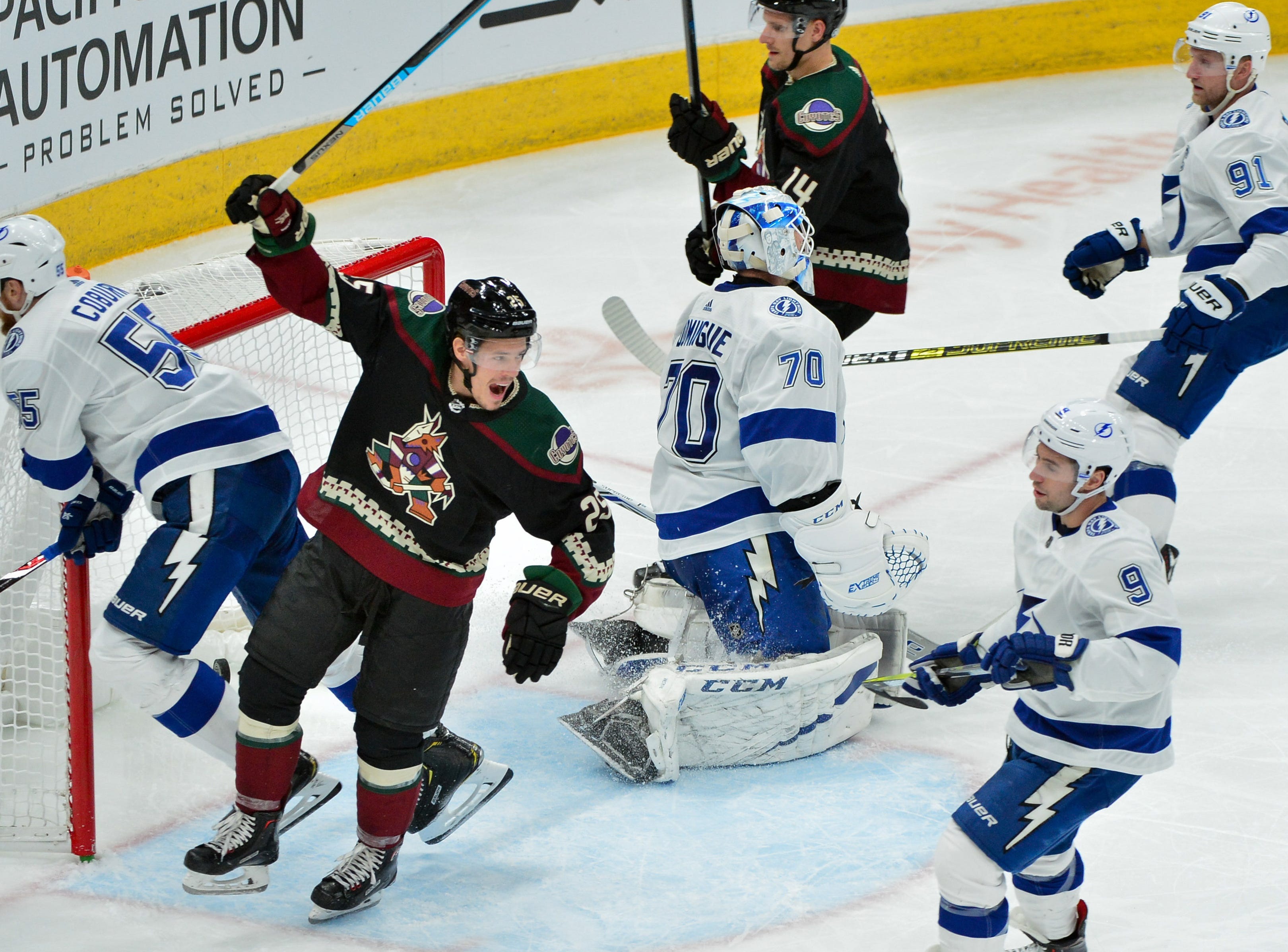 Oct. 27: Arizona Coyotes center Nick Cousins (25) celebrates a goal by center Vinnie Hinostroza during the second period against the Tampa Bay Lightning at Gila River Arena.