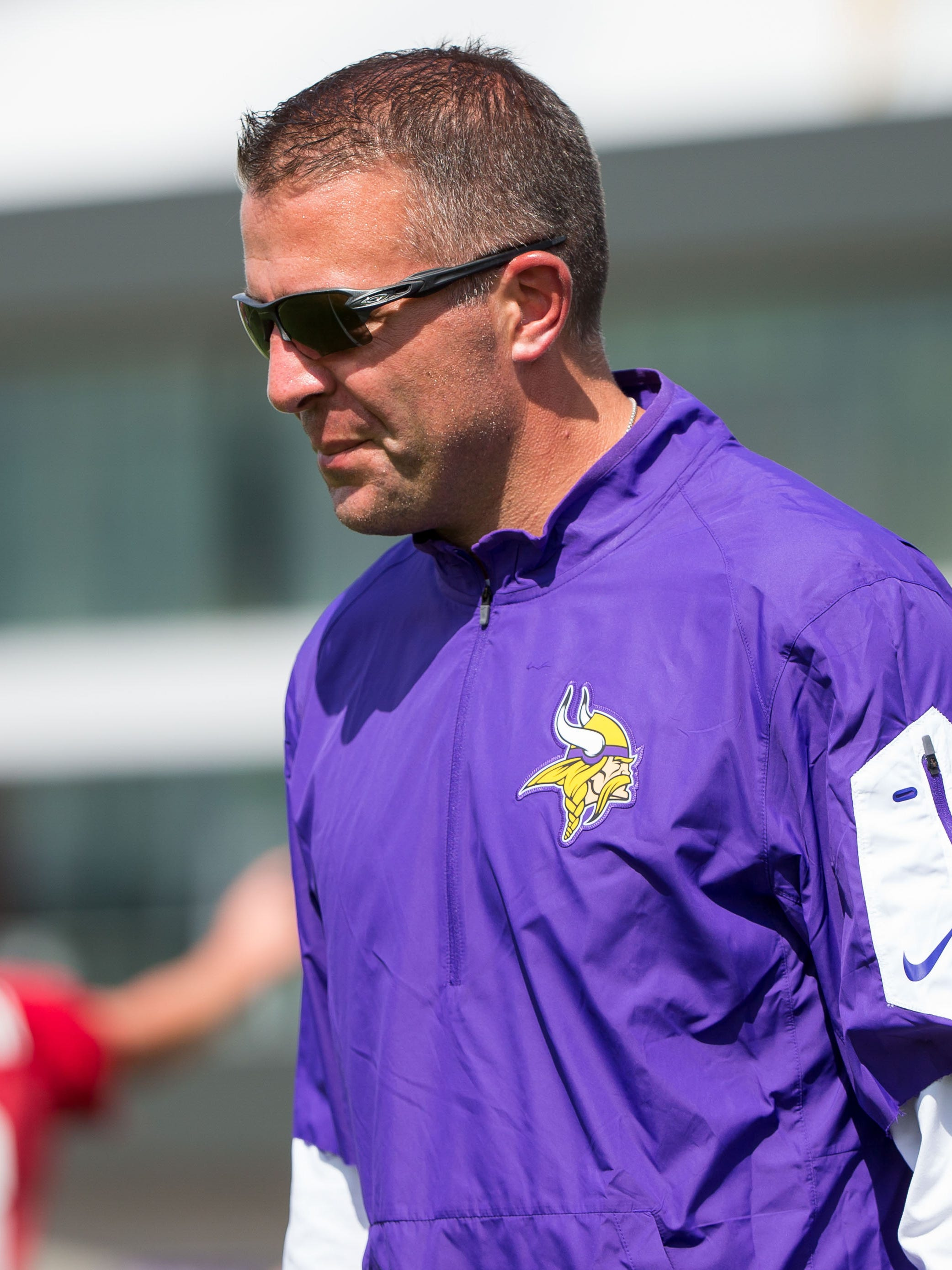 Minnesota Vikings offensive coordinator John DeFilippo at Vikings training camp at TCO Performance Center.