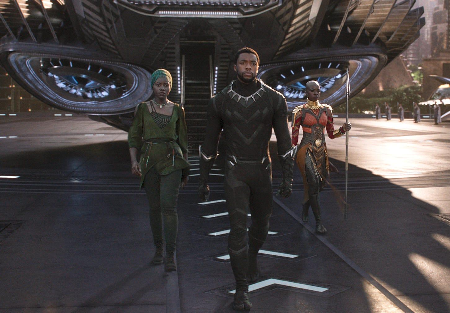 A scene from Marvel Studios' motion picture 'Black Panther'..L to R: Nakia (Lupita Nyong'o), T'Challa/Black Panther (Chadwick Boseman) and Okoye (Danai Gurira)..Ph: Film Frame..©Marvel Studios 2018 [Via MerlinFTP Drop]