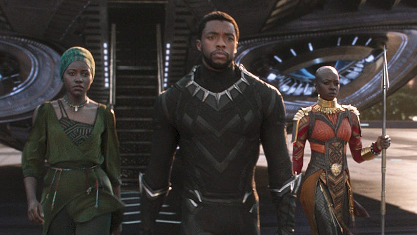 A scene from Marvel Studios' motion picture 'Black Panther'..L to R: Nakia (Lupita Nyong'o), T'Challa/Black Panther (Chadwick Boseman) and Okoye (Danai Gurira)..Ph: Film Frame..©Marvel Studios 2018 [Via MerlinFTP Drop]
