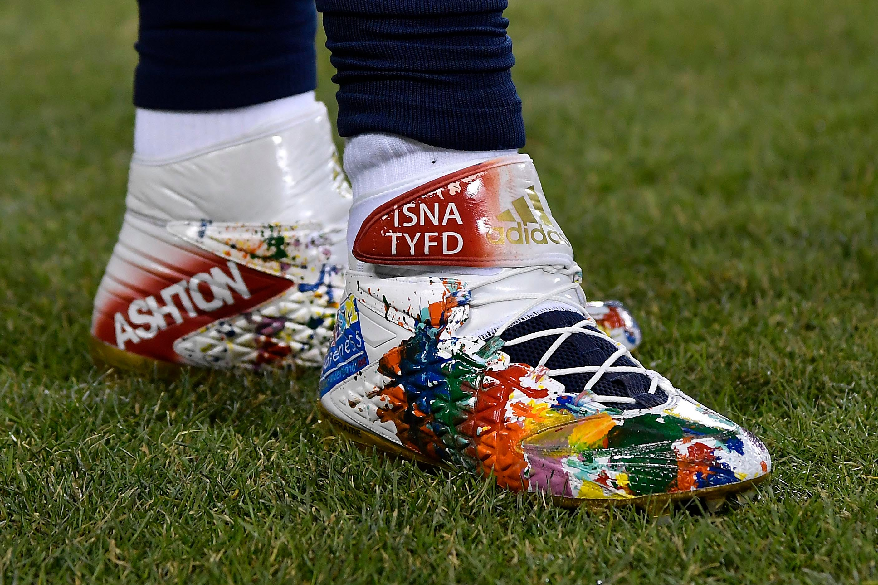 A general view of the shoes worn by Los Angeles Rams defensive end Michael Brockers before the game against the Chicago Bears at Soldier Field.