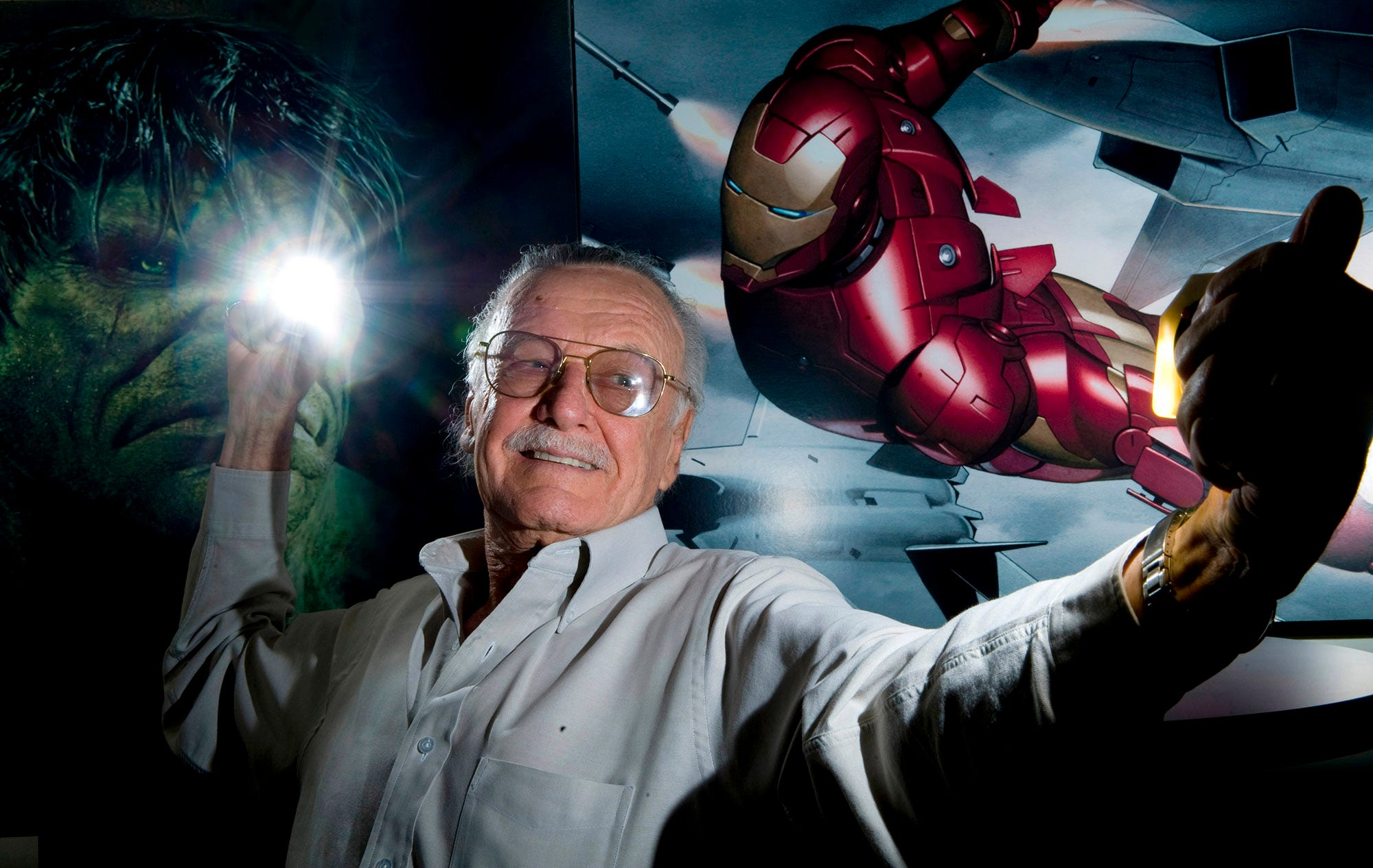 "April 29, 2008 portrait of Stan Lee, Marvel Comics icon who is responsible for movie franchises ""Spider-Man"" and ""Fantastic Four"" has high hopes for upcoming films ""Iron Man"" and ""The Incredible Hulk."
