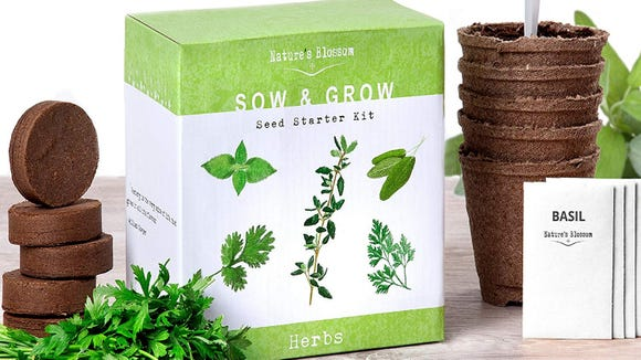 This kit has everything needed to grow herbs at home.