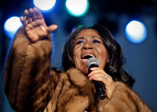 "Aretha Franklin, the ""Queen of Soul,"" performs at the Wisconsin State Fair on Aug. 5, 2014 in West Allis, WI."