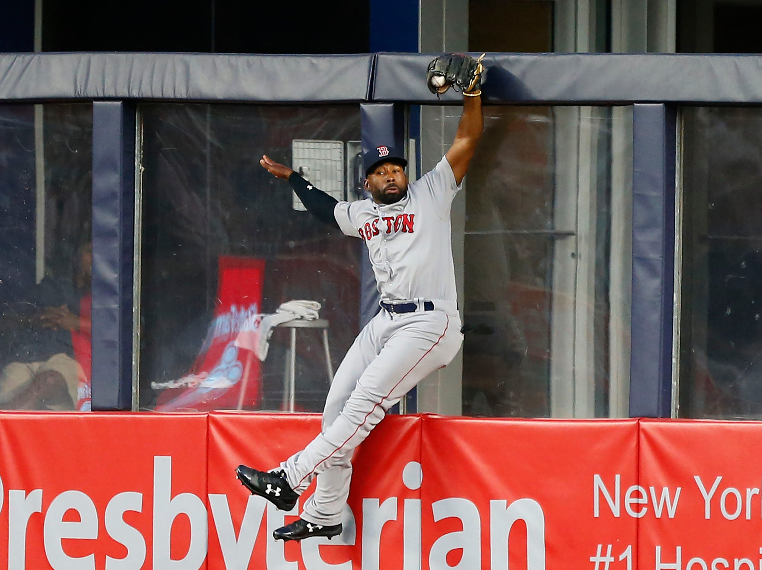 June 30: Boston Red Sox center fielder Jackie Bradley Jr. catches a ball hit by New York Yankees center fielder Aaron Hicks for an out in the third inning at Yankee Stadium.
