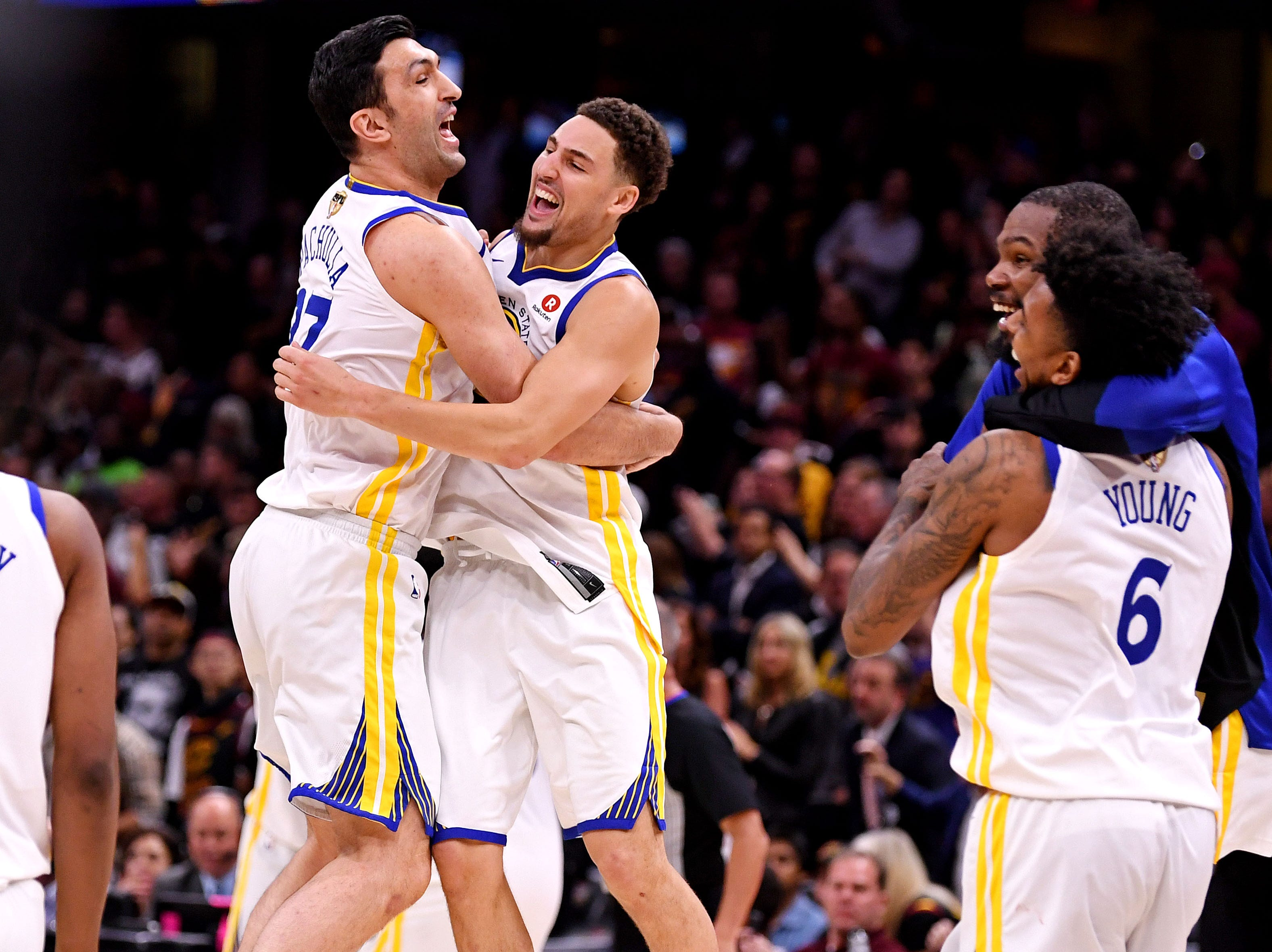 June 8: The Golden State Warriors celebrate after beating the Cleveland Cavaliers in Game 4 of the NBA Finals to clinch the title.