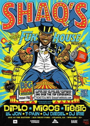 A flyer for Shaq's Fun House, tabbed to be the biggest Super Bowl party around.