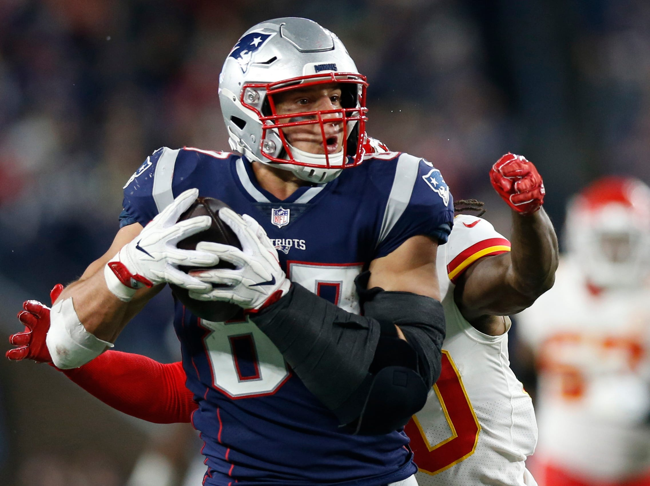 Oct. 14: New England Patriots tight end Rob Gronkowski (87) runs after a catch in the fourth quarter against the Kansas City Chiefs.