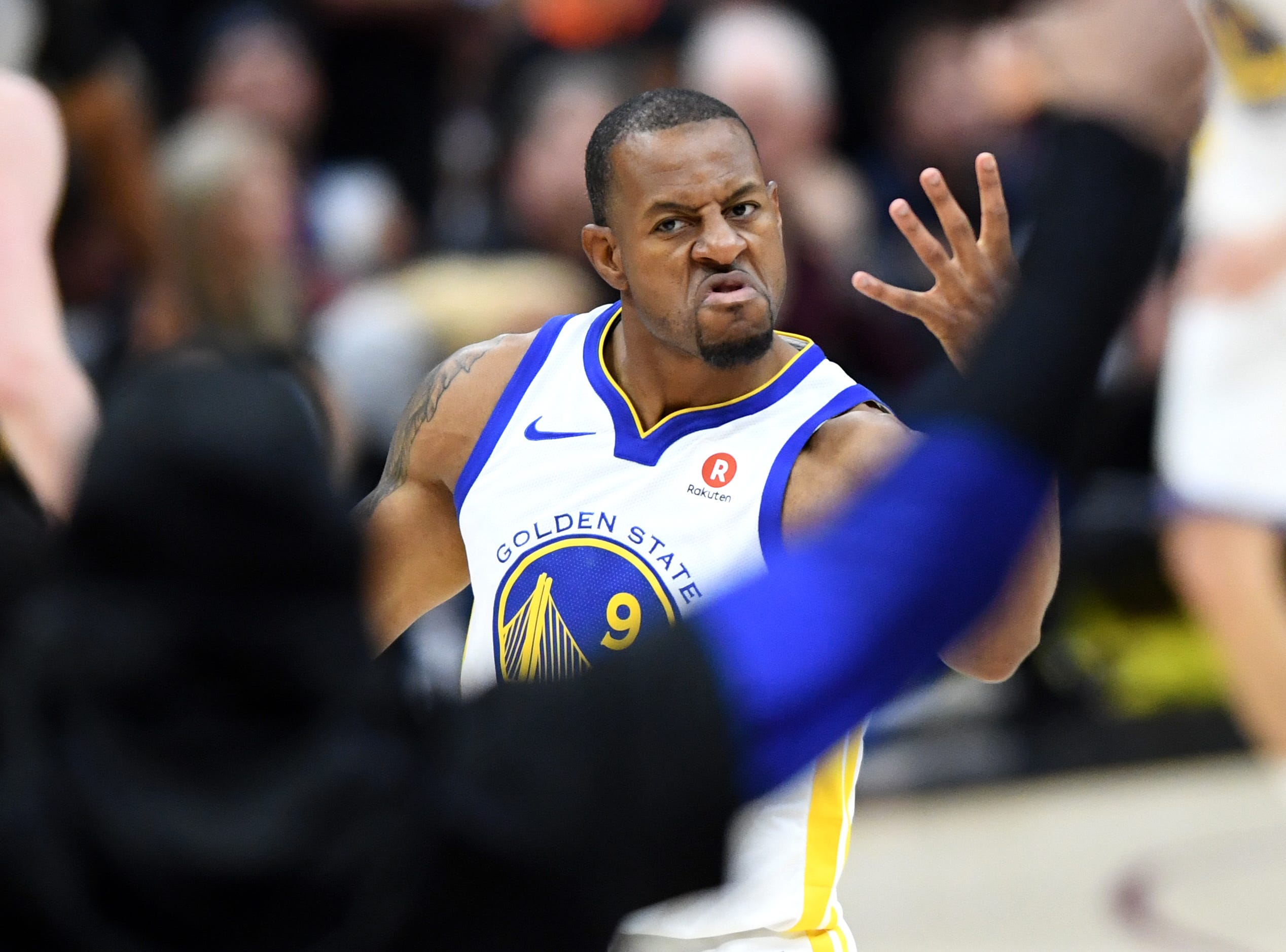 June 6: Golden State Warriors forward Andre Iguodala (9) reacts during the fourth quarter in Game 3 of the NBA Finals against the Cleveland Cavaliers.