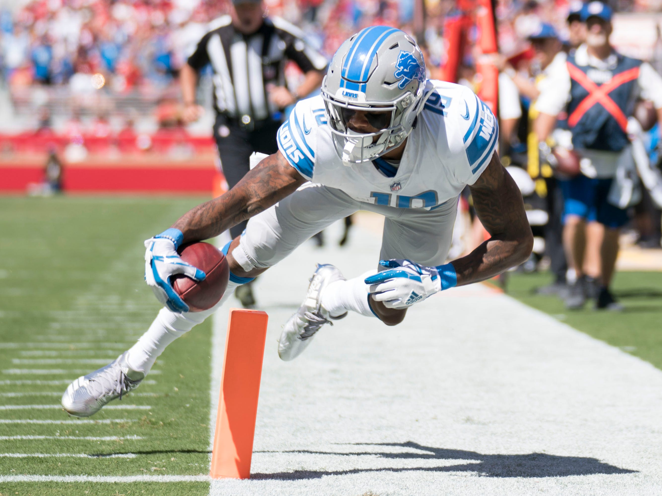 Sept. 16: Detroit Lions wide receiver Kenny Golladay scores a touchdown against the San Francisco 49ers during the first quarter at Levi's Stadium.