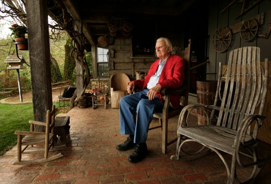 Rev. Billy Graham, on the porch of his mountaintop cabin in Montreat, North Carolina on May 12, 2005.