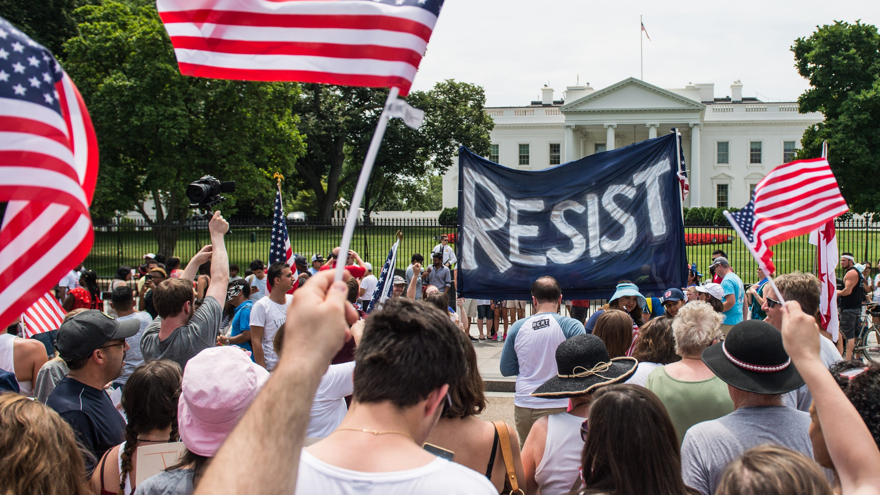 Protesters gather near the White House in Washington on July, 4, 2017.