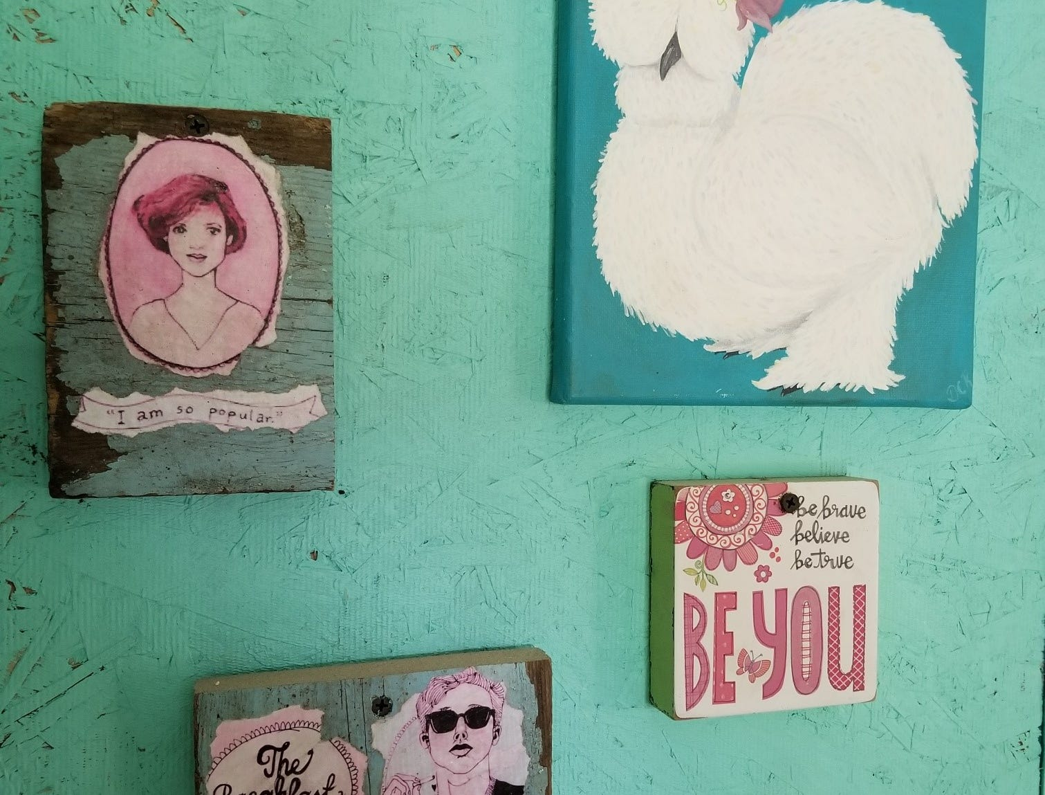 "Danielle Raad paid homage to the movie ""The Breakfast Club,"" the namesake for her coop, with a wall of paintings by her children referencing the film. The family often refers to their chicken flock as ""The Breakfast Club"" as they produce the eggs for family breakfasts."