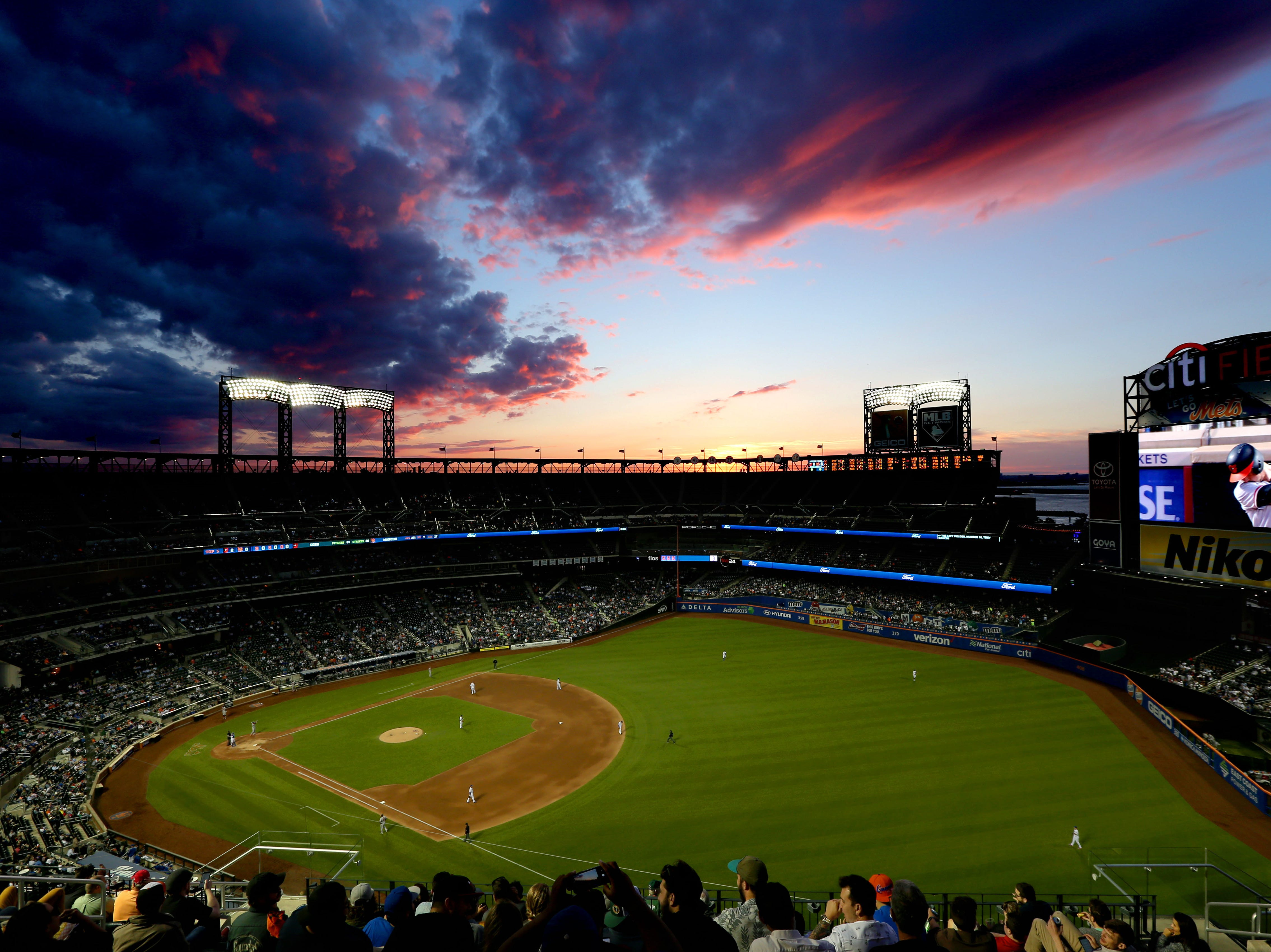 June 5: The sun sets over Citi Field during the fifth inning of a game between the New York Mets and the Baltimore Orioles.
