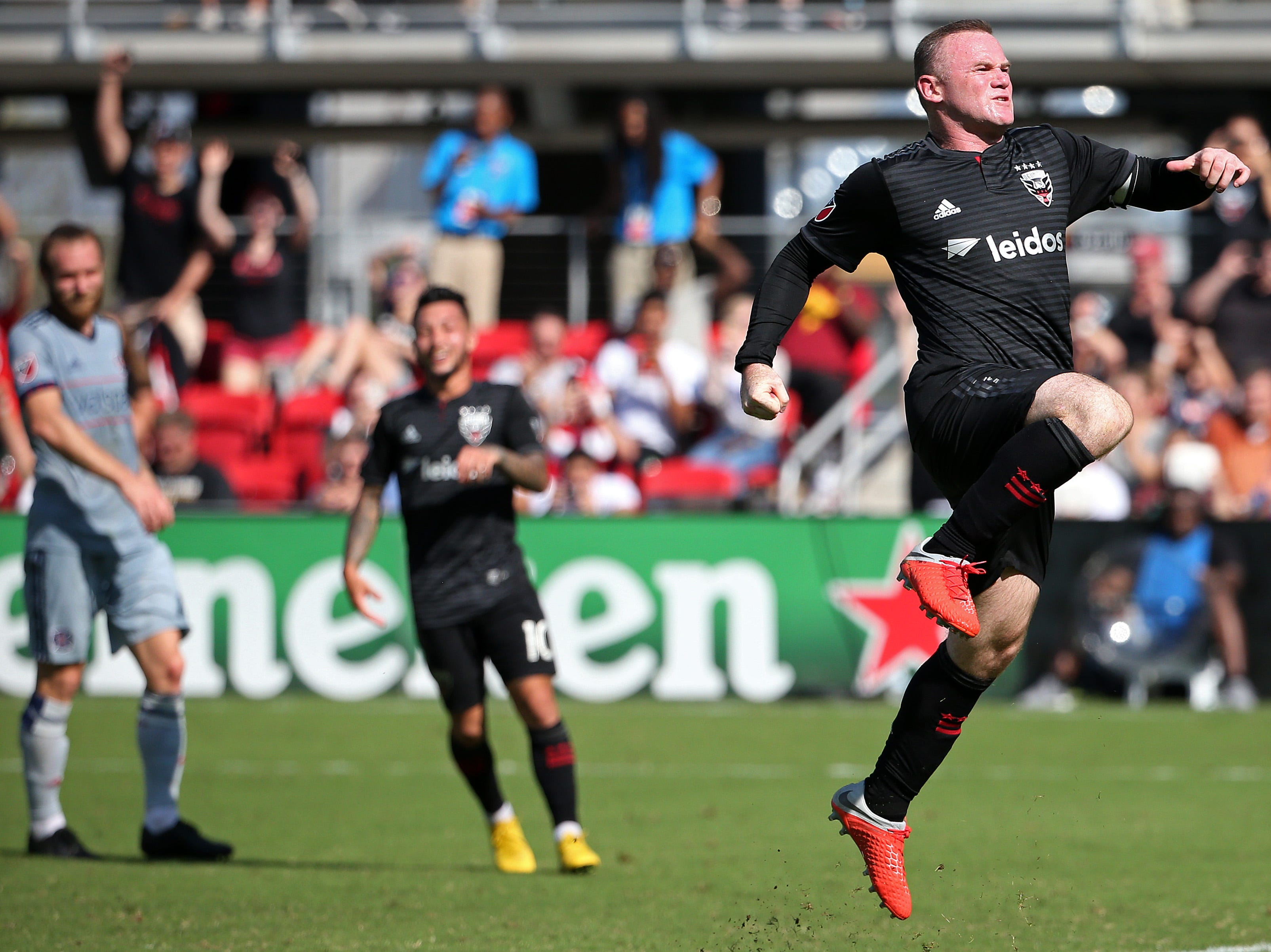 Oct. 7: D.C. United forward Wayne Rooney (9) celebrates after scoring the go-ahead goal on a penalty kick against the Chicago Fire in the second half at Audi Field.