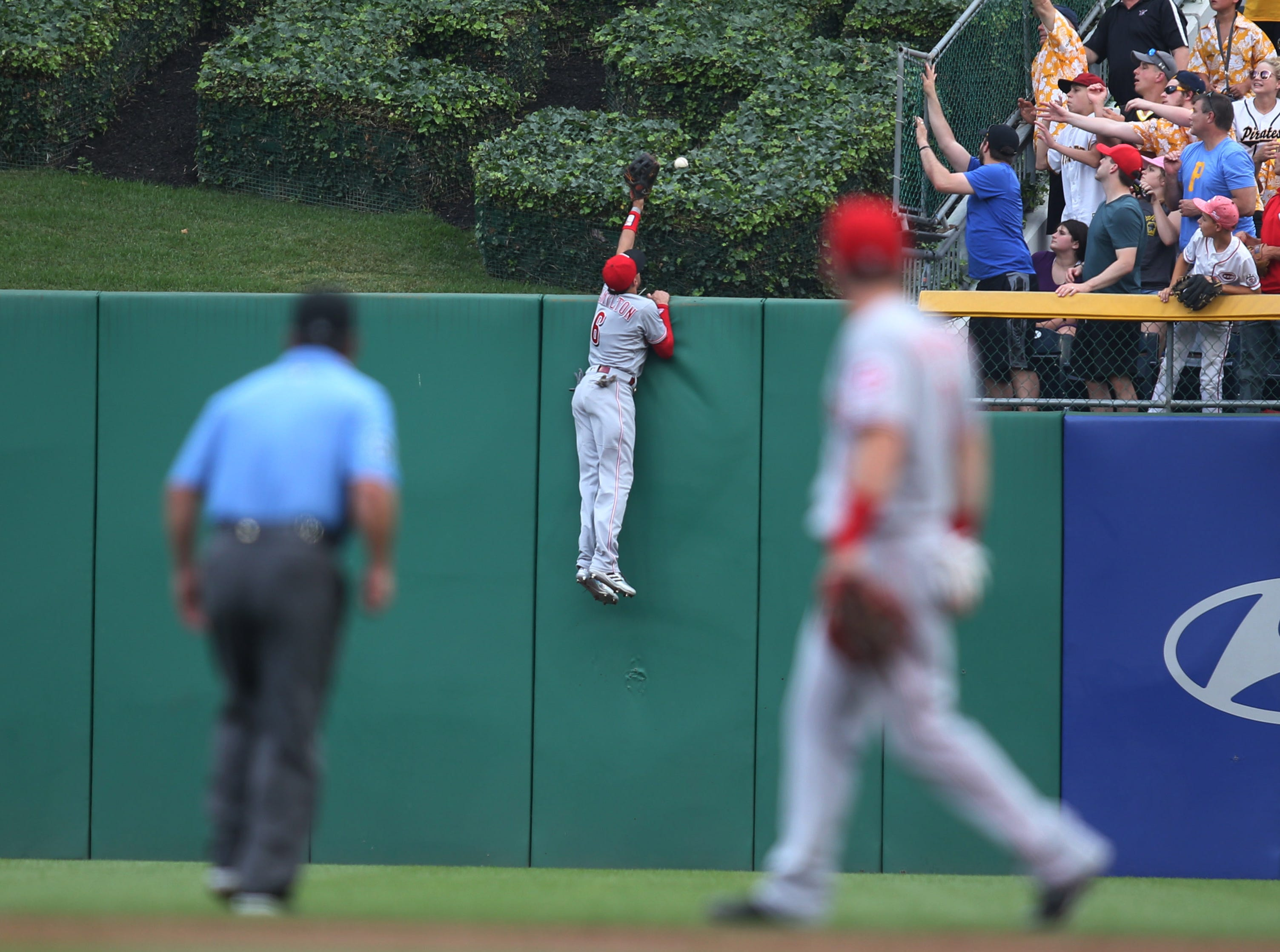 June 16: Cincinnati Reds center fielder Billy Hamilton can't catch this home run by Pittsburgh Pirates third baseman Colin Moran during the third inning at PNC Park.